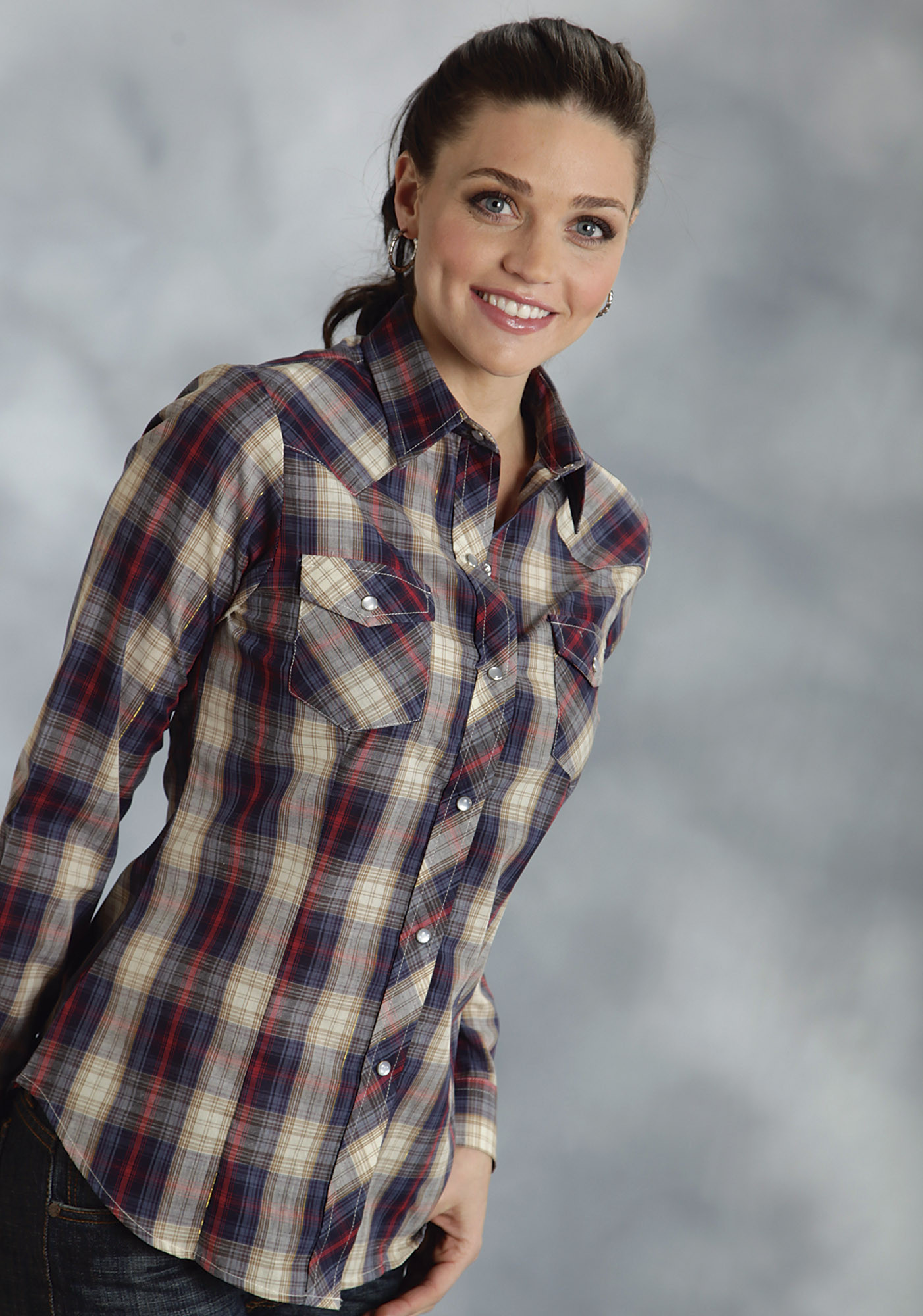 Roper women 39 s navy red with gold lurex plaid long for Womens navy plaid shirt