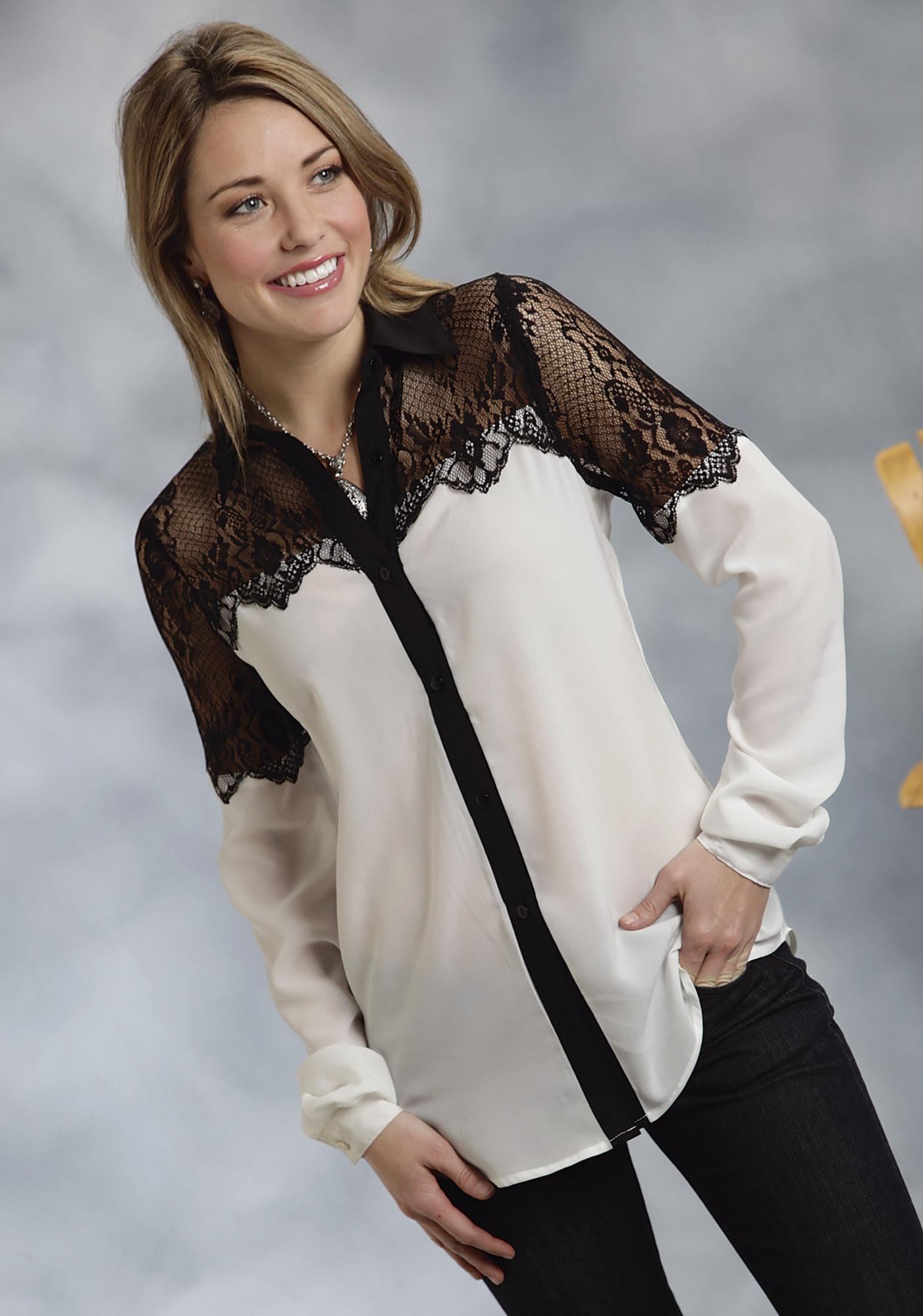 Roper® Women's Off-White & Black Lace Georgette Blouse