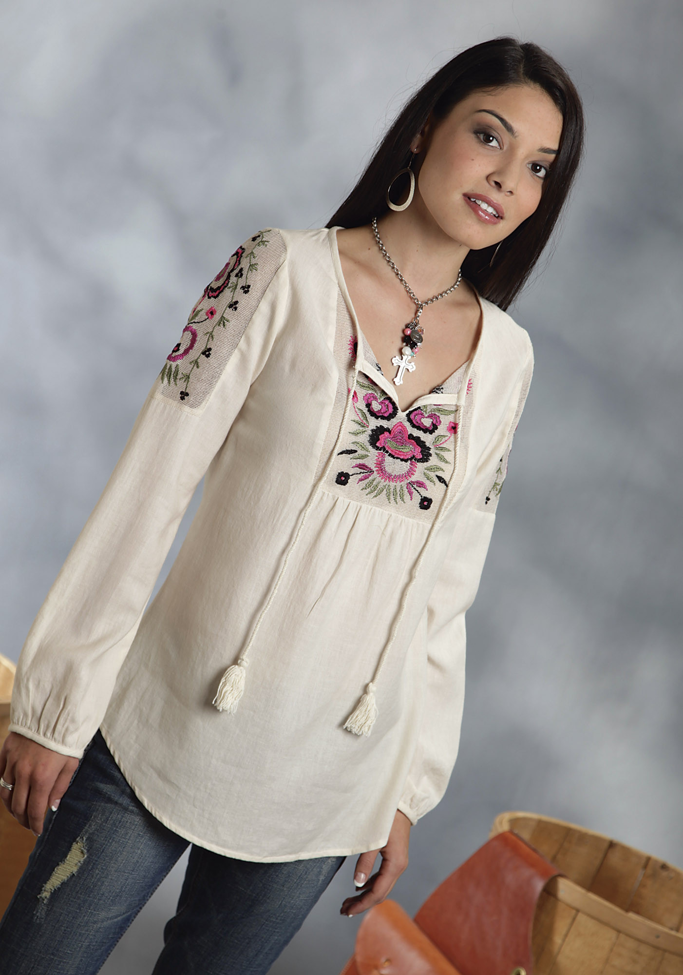 Womens Cotton Peasent Blouses 17