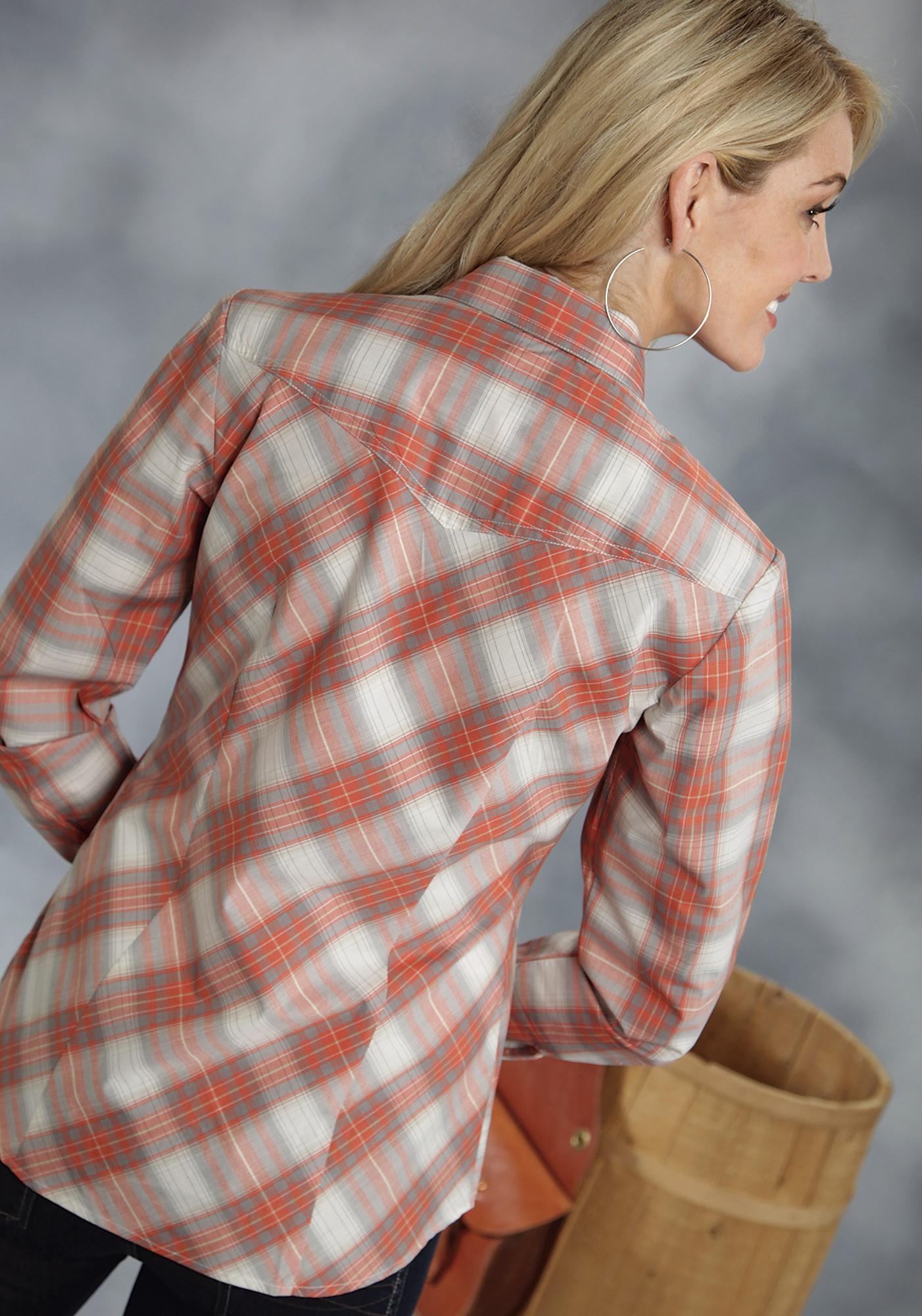 Roper 174 Women S Light Orange Plaid Long Sleeve Snap Western