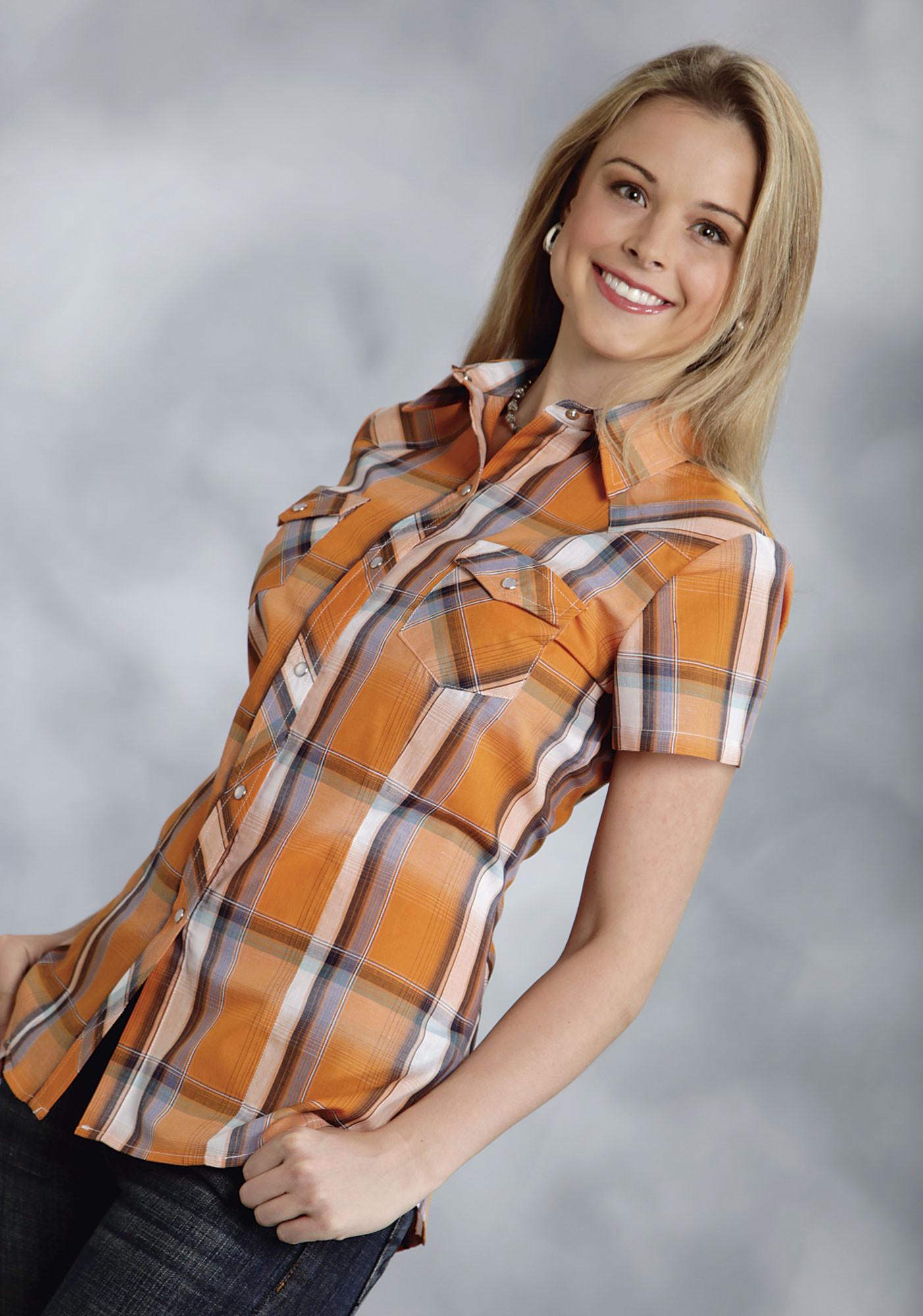 Roper Ladies Orange Plaid Short Sleeve Snap Western Shirt