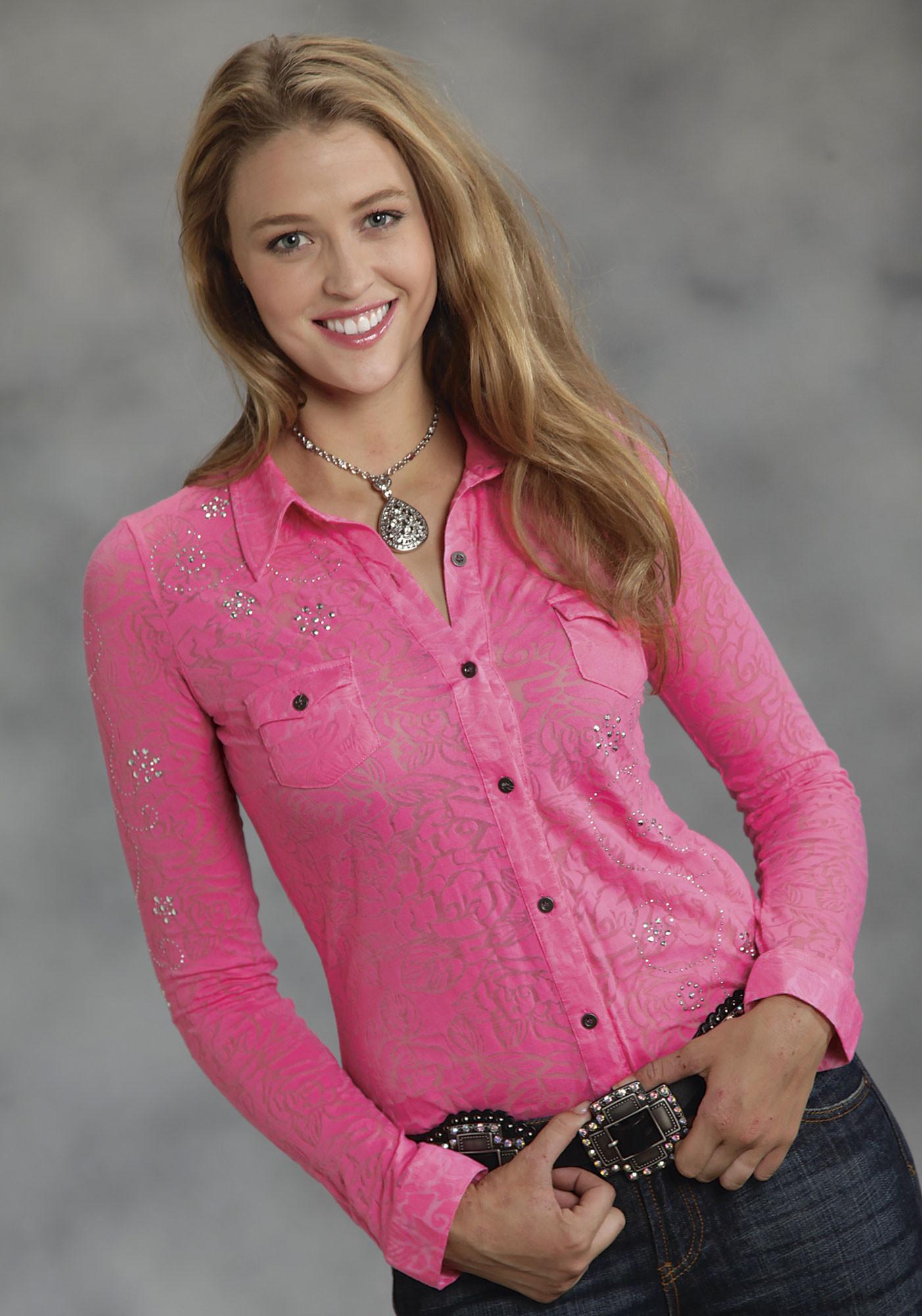 Roper® Ladies Pink Floral Burnout Silvery Rhinestone Western Show ...