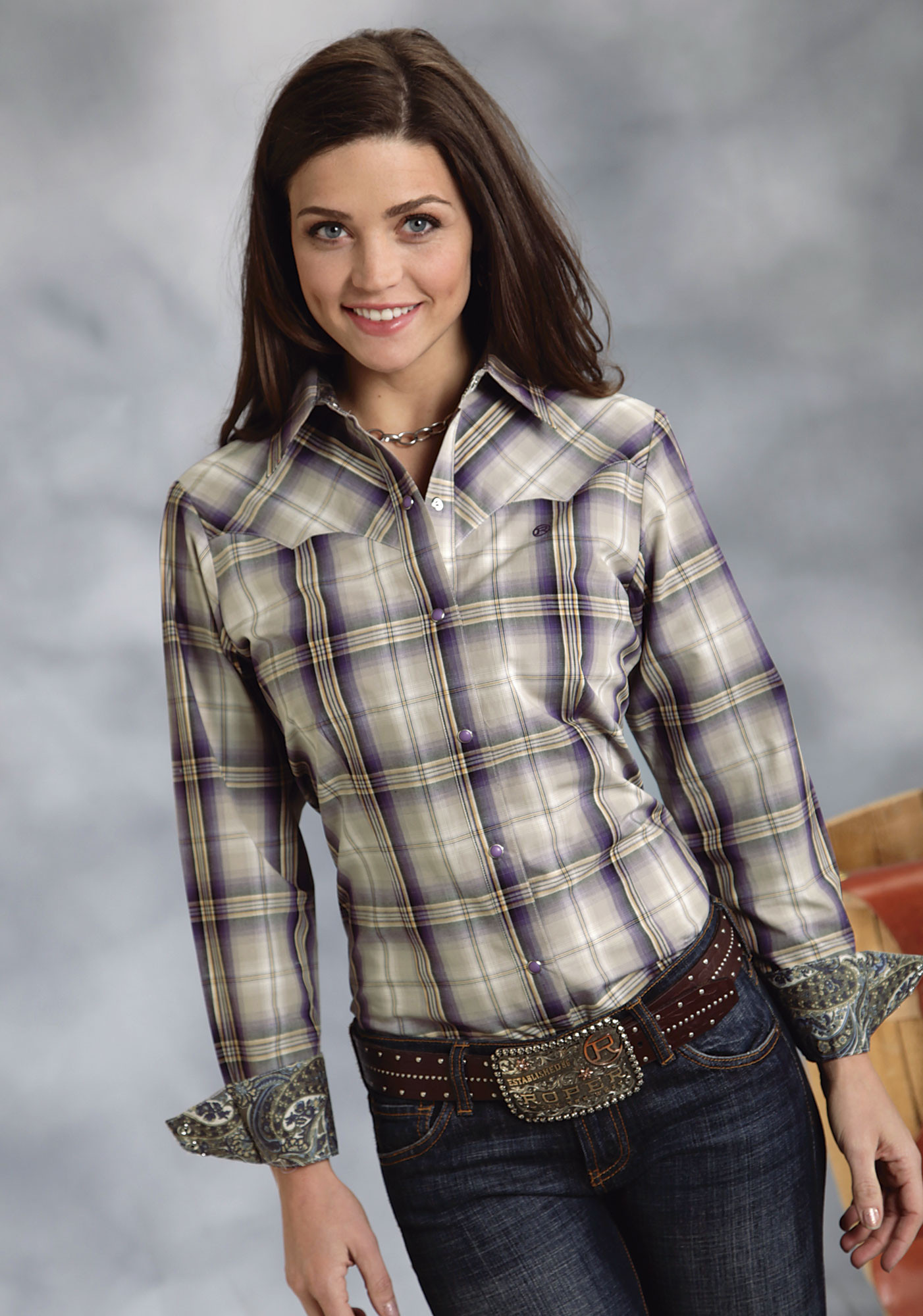 Roper® Women's Purple Plaid Snap LS Cowgirl Shirt