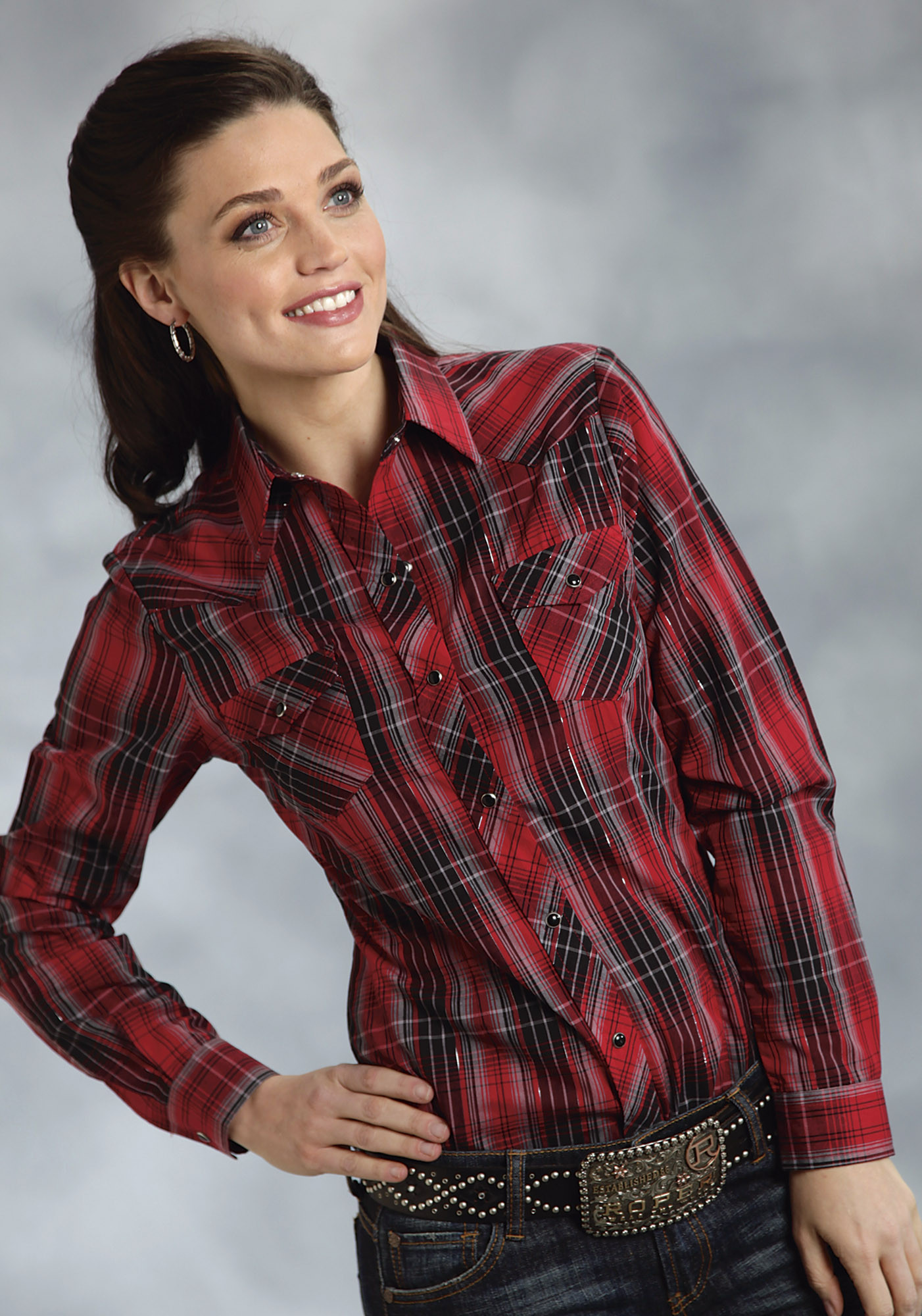 Roper womens red black with silver lurex plaid long for Dark red plaid shirt