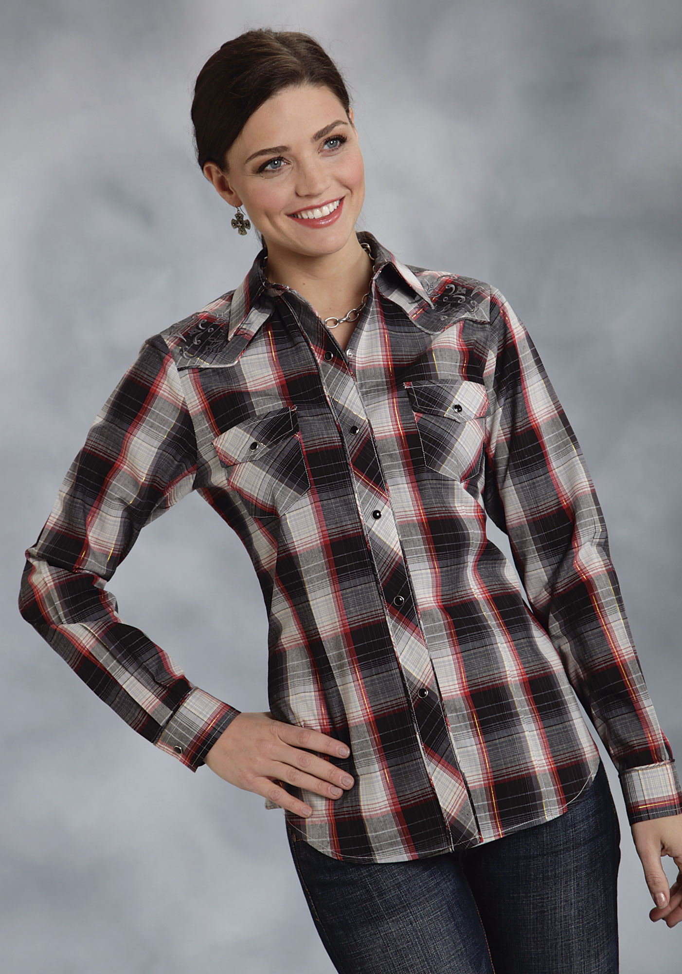 Roper® Women's Red Plaid Embroidered Snap LS Western Shirt