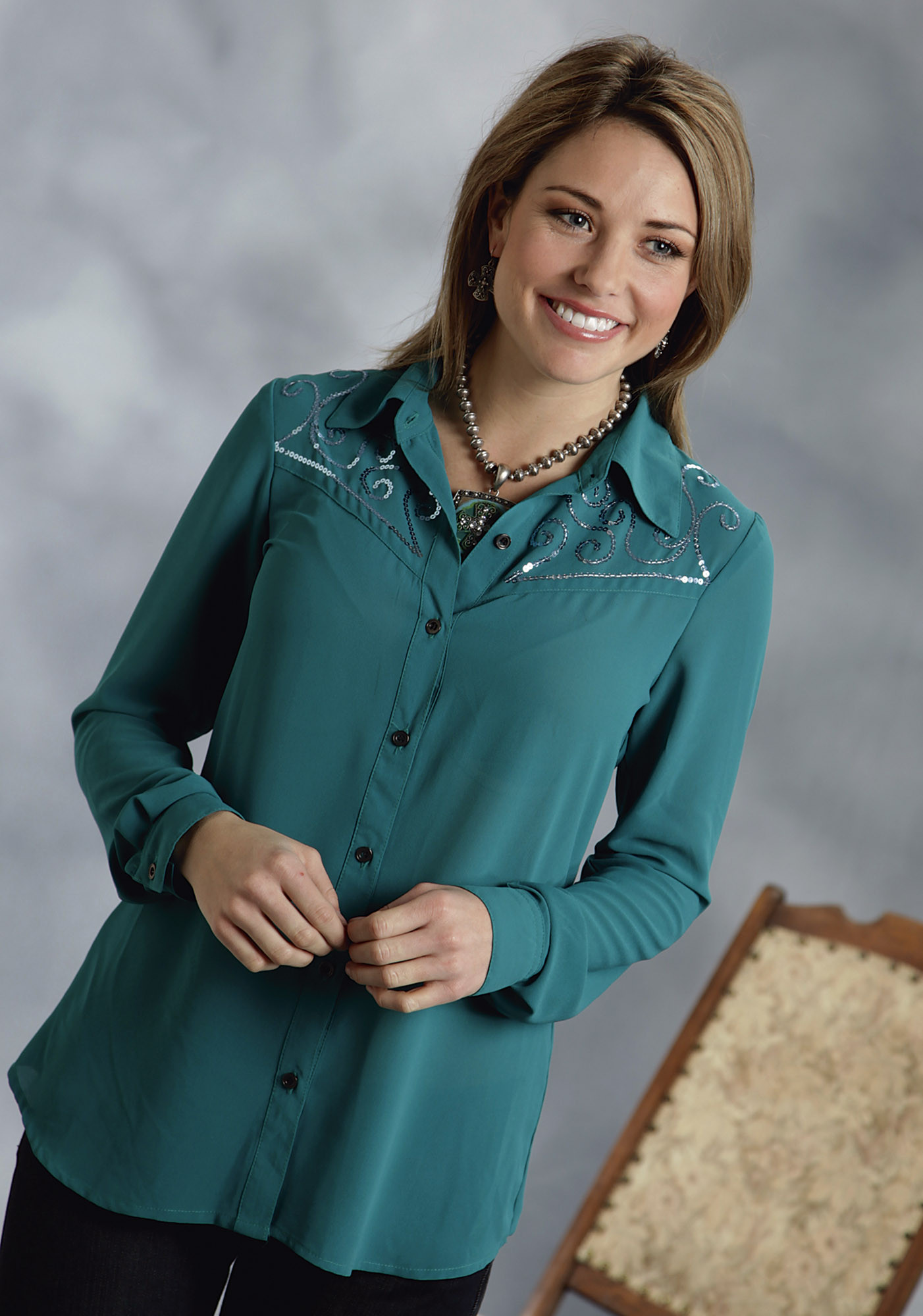 Womens Teal Blouse 100