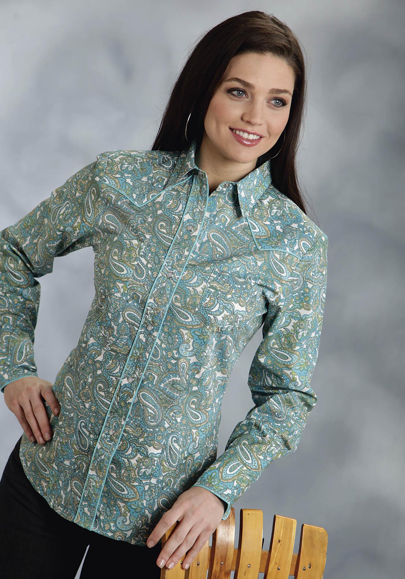 Roper women 39 s turquoise asbury paisley long sleeve pearl for Women s turquoise long sleeve shirt