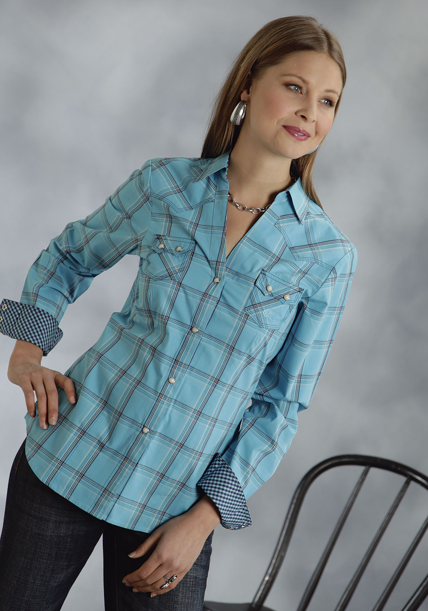 Roper® Women's Turquoise Plaid LS Snap Western Shirt