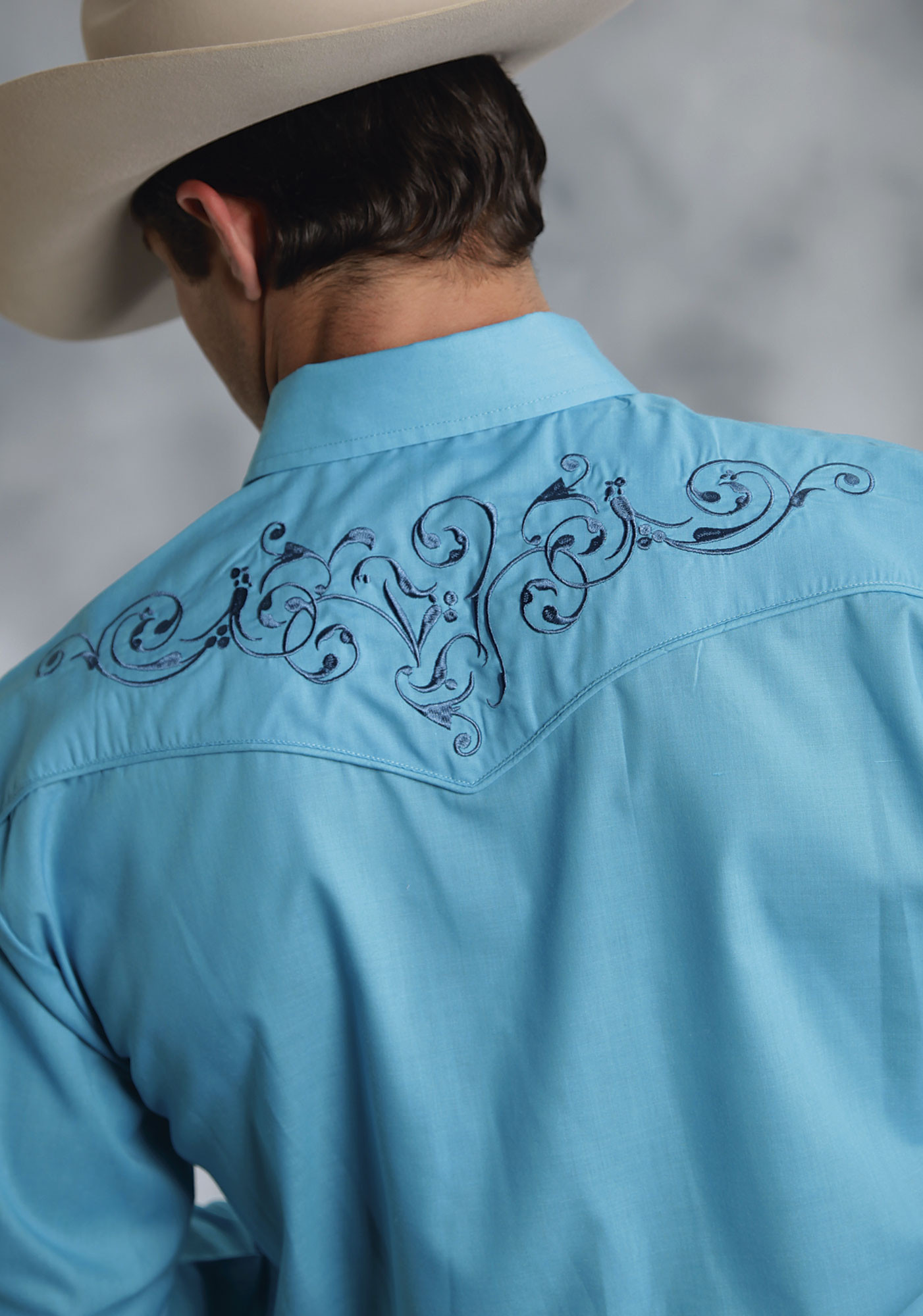 Roper mens turquoise embroidered long sleeve pearl snap