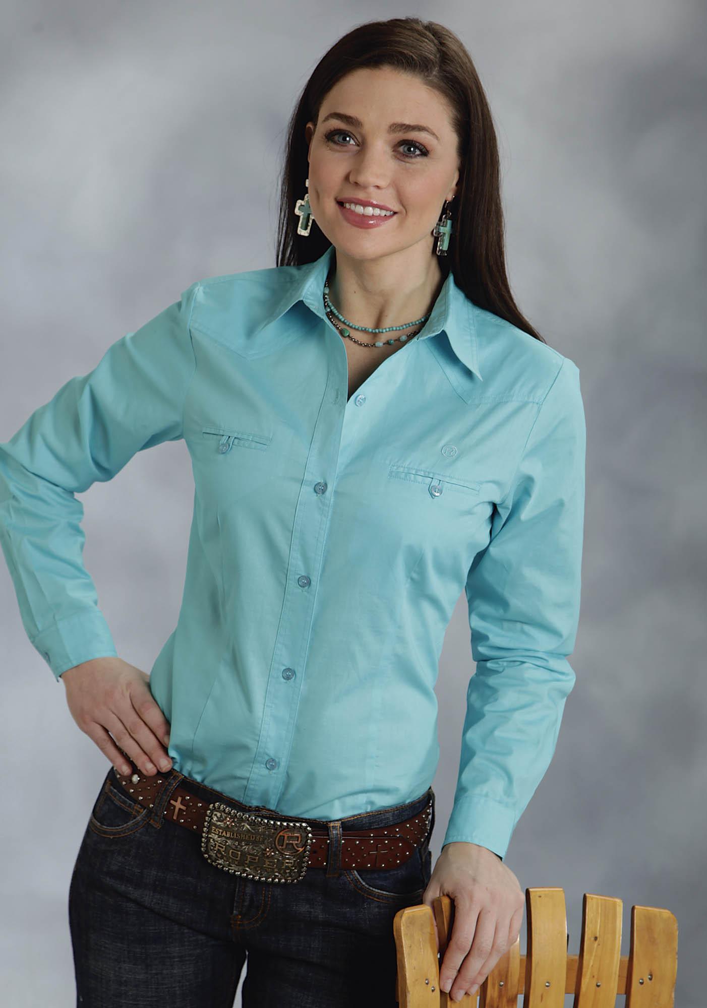 Roper® Women's Turquoise Poplin Long Sleeve Button Western Shirt