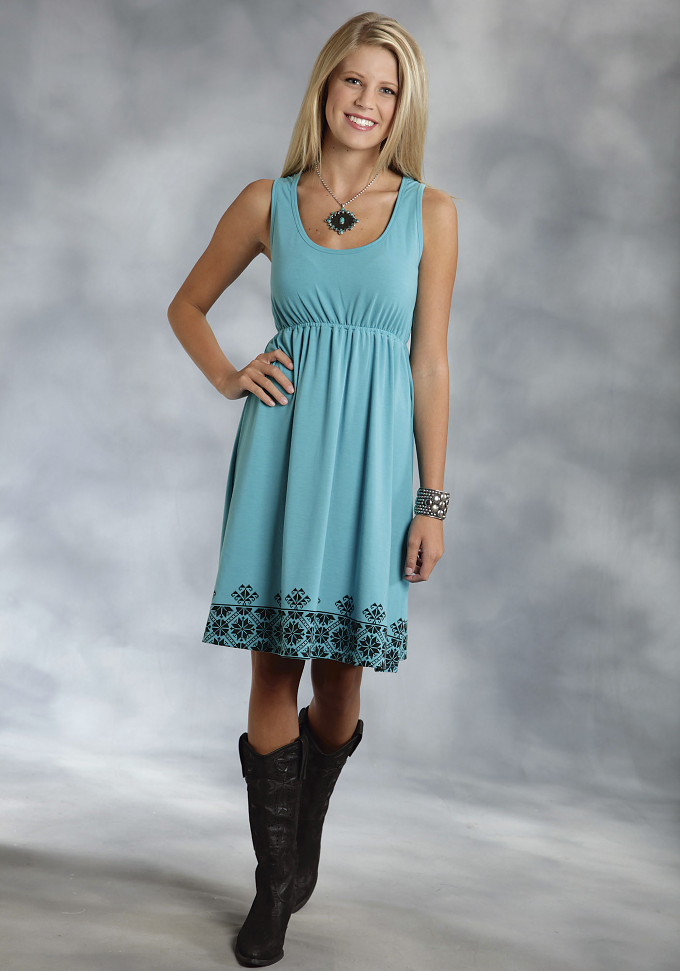 Roper® Women's Turquoise Racer Back Jersey Western Dress