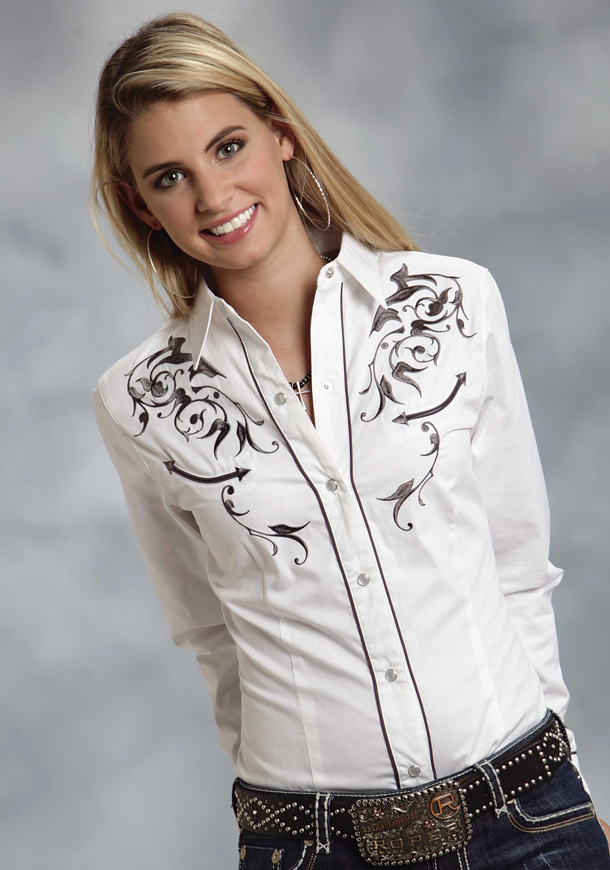 Roper women 39 s white trailing vine embroidered long sleeve for Dress shirts on sale online