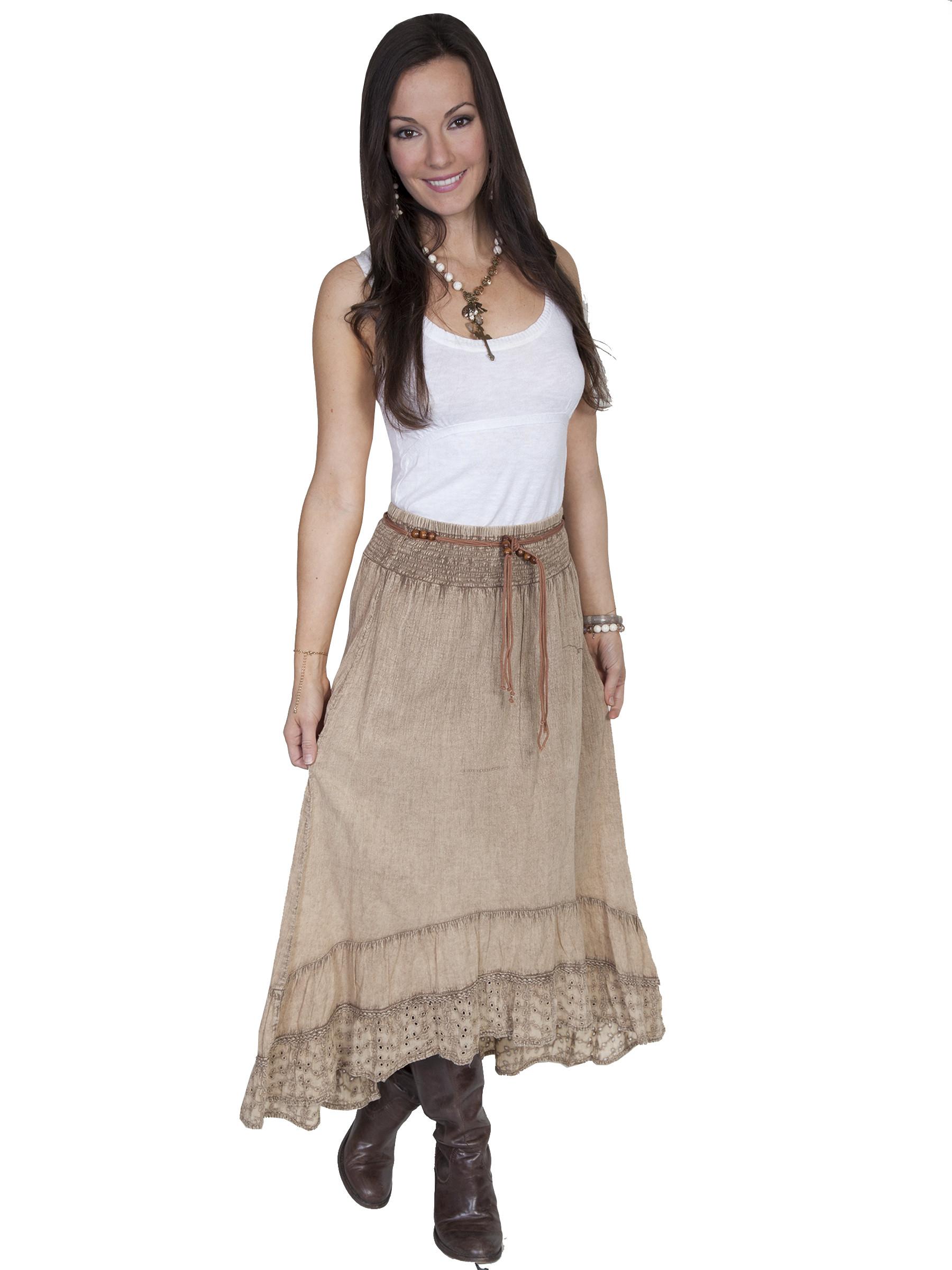Scullyu00ae Ladies Khaki Hi-Lo Western Skirt
