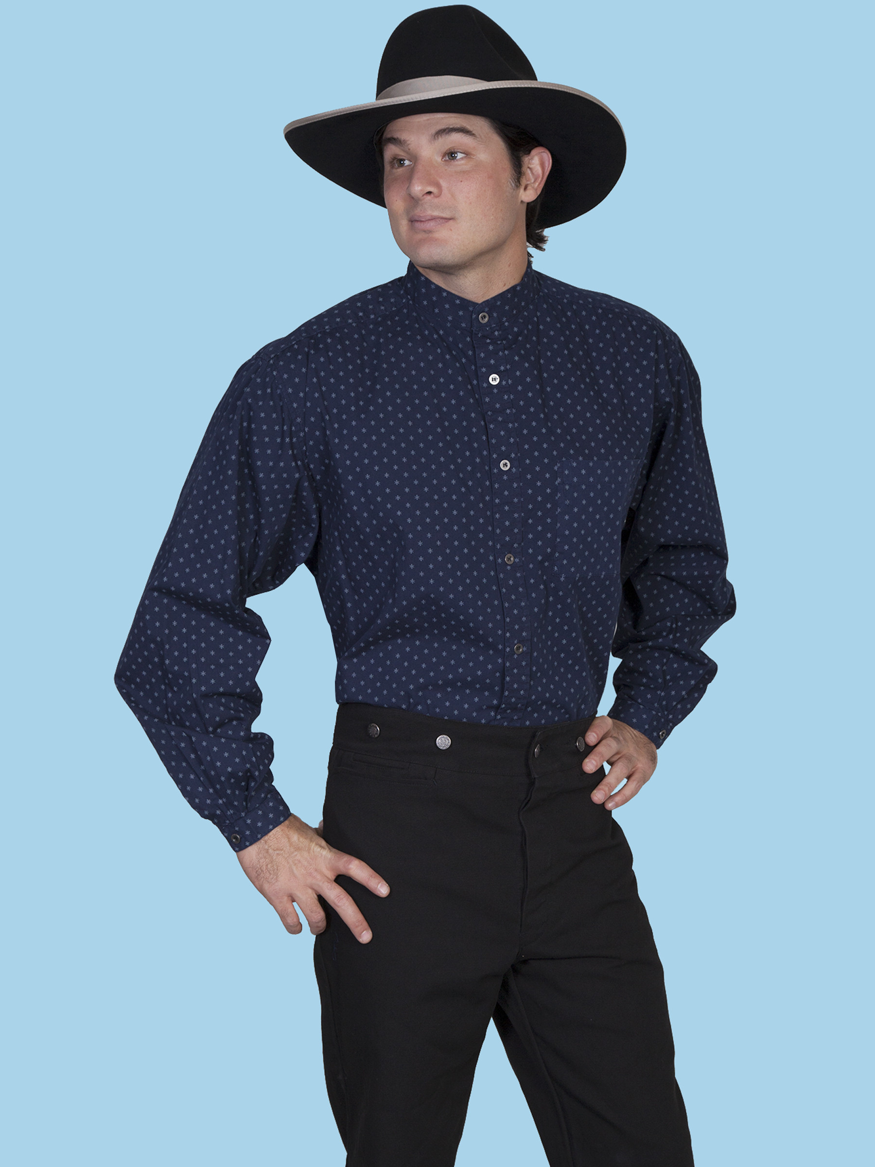 Scully mens blue print banded collar long sleeve old west for Mens big and tall banded collar shirts