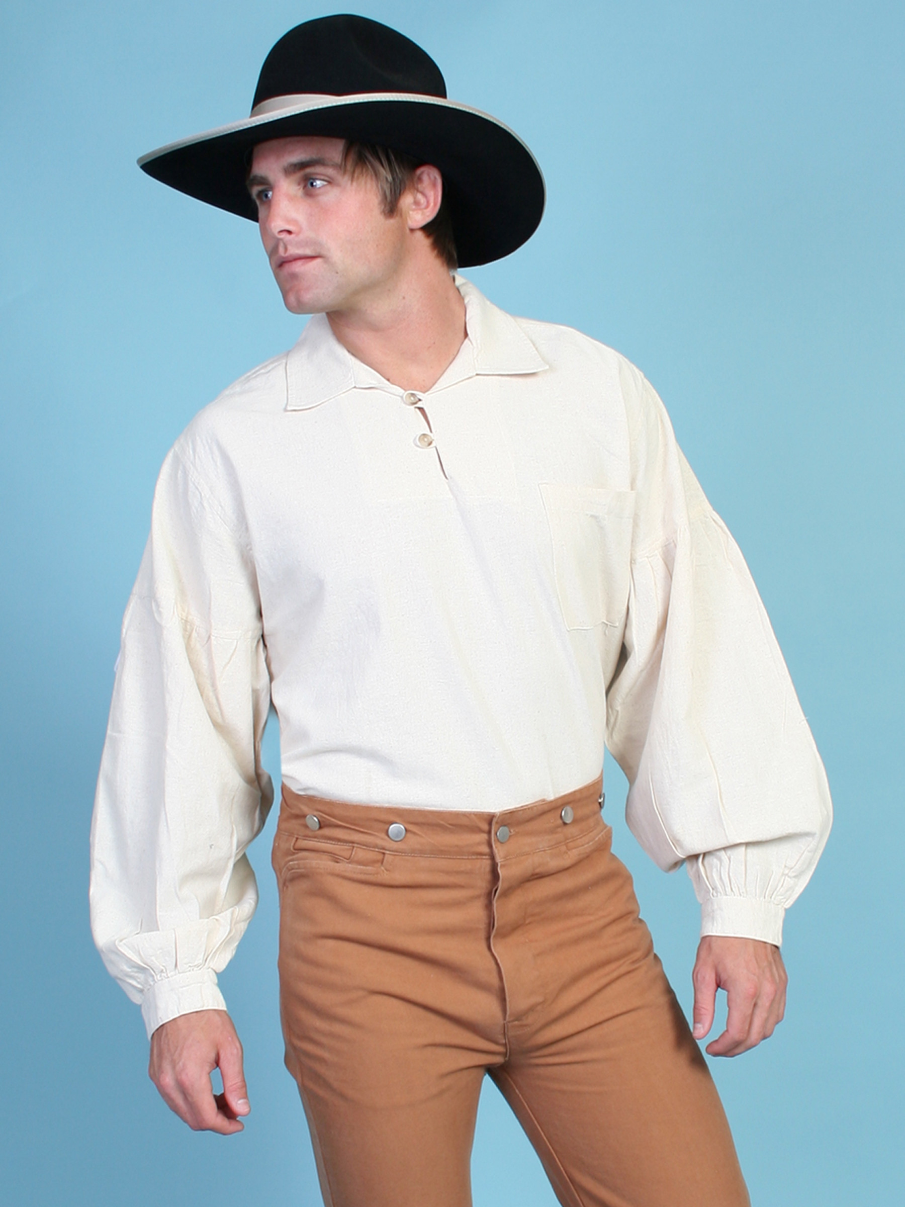 Scully mens natural pullover full sleeve old west shirt for Mens long sleeve pullover shirts