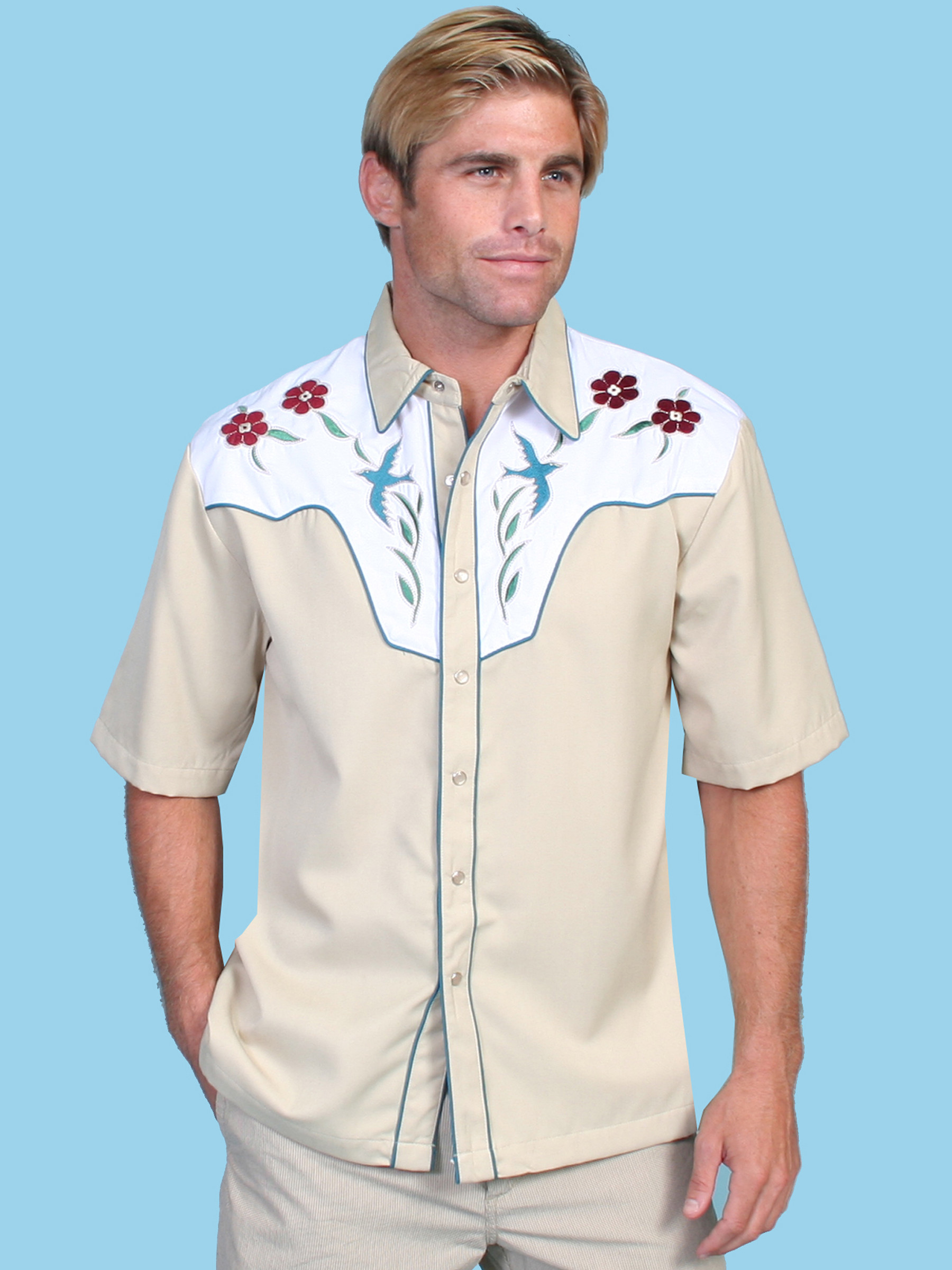 Scully® Mens Tan Embroidered SS Cowboy Shirt