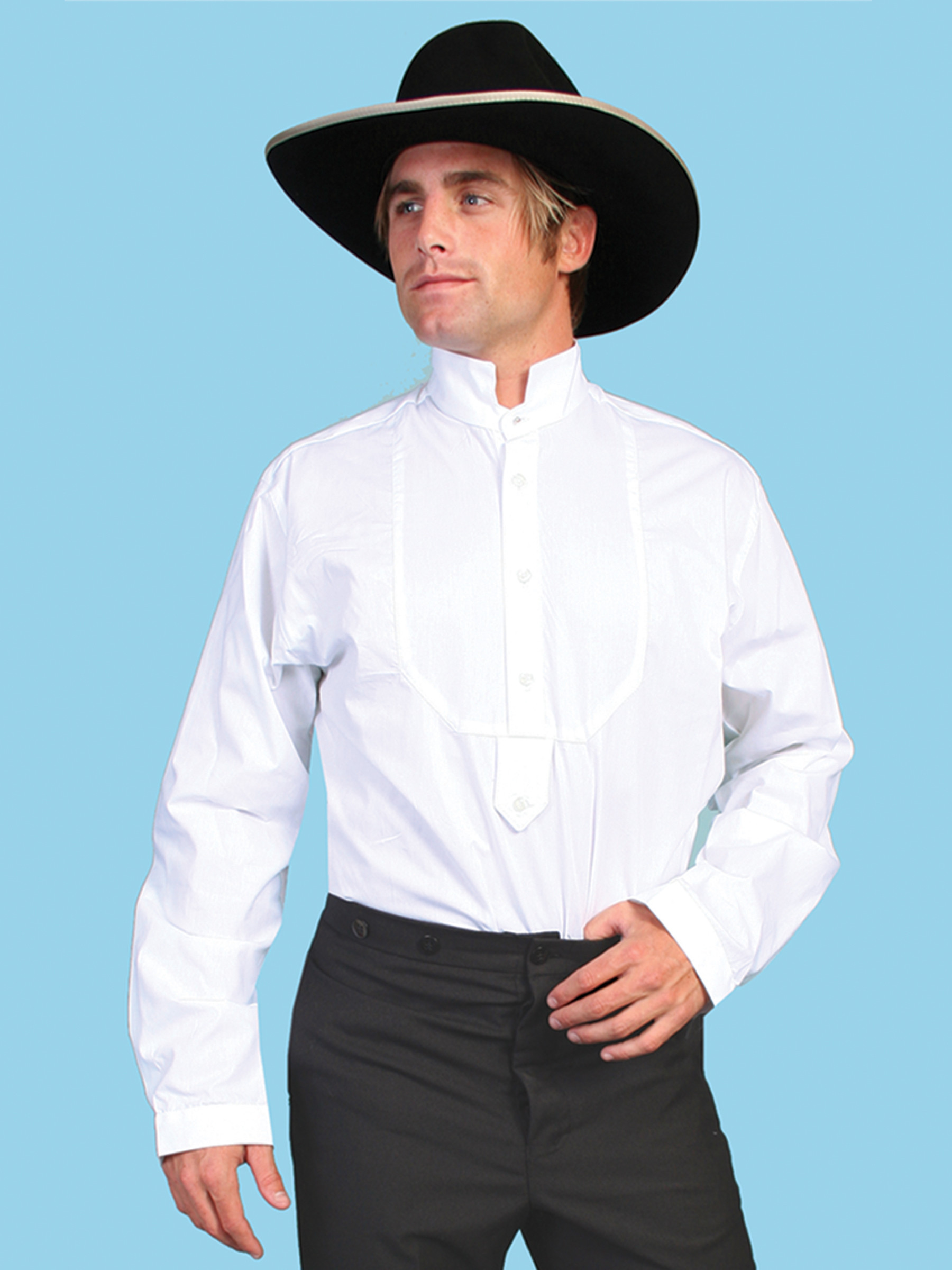 scully mens white bib front formal old west shirt