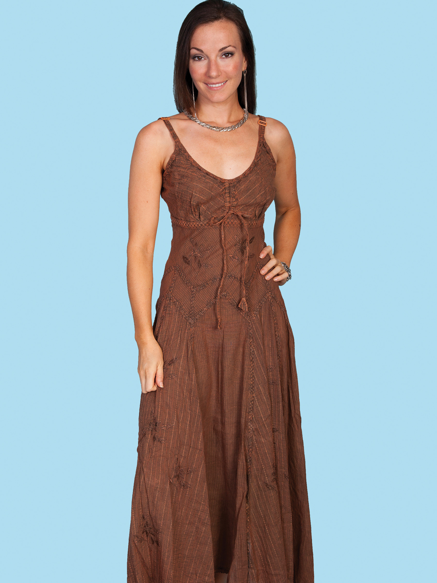 Scully^ Womens Copper Spaghetti Strap Long Western Dress