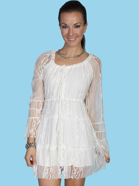 Scully® Ivory Lace Bell Sleeve Cowgirl Dress