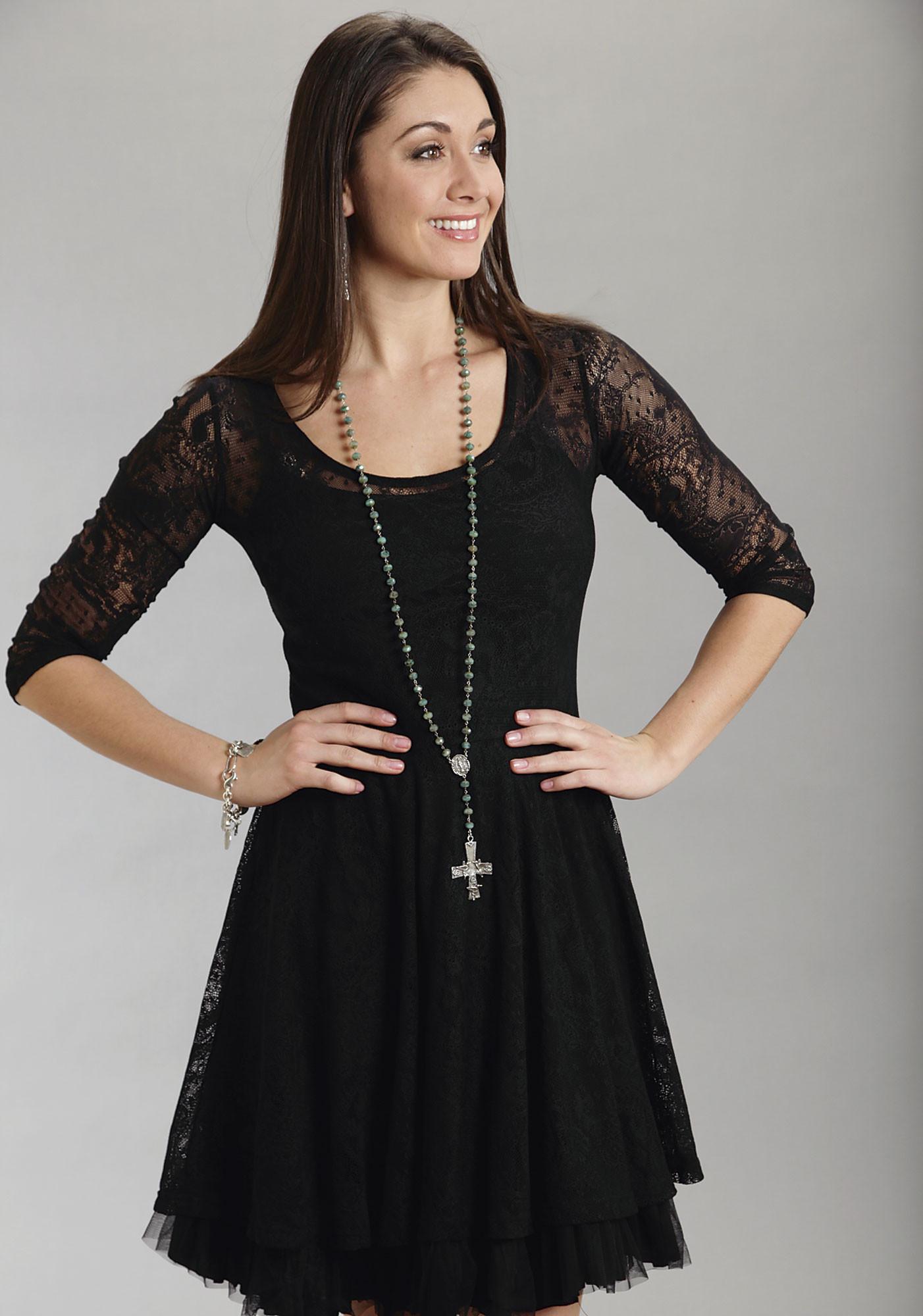 stetson174 black lace western dress