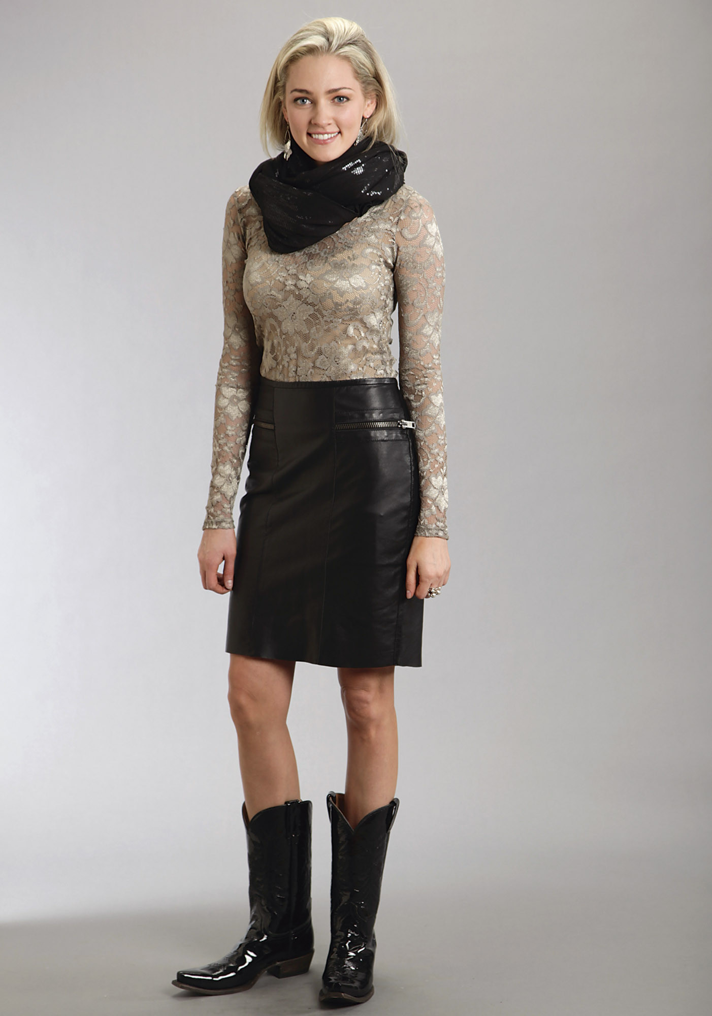 Stetson® Black Leather Zippered Pencil Skirt