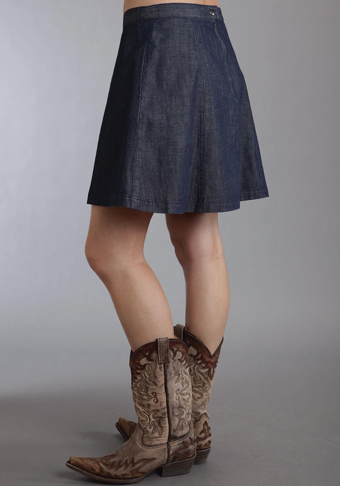 stetson 174 denim flared western skirt
