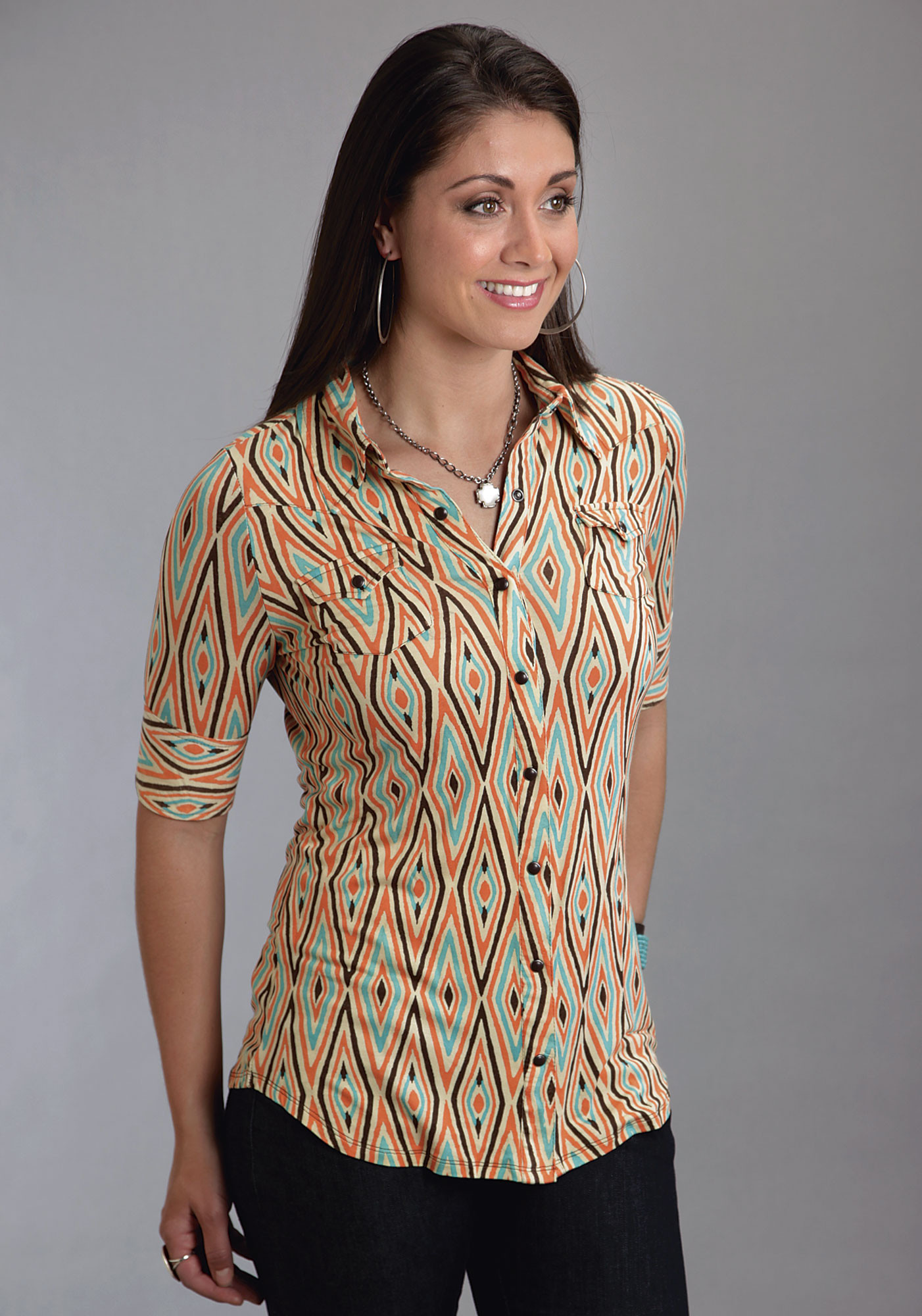 Stetson ladies orange aztec print elbow length sleeve for Elbow length t shirts women s