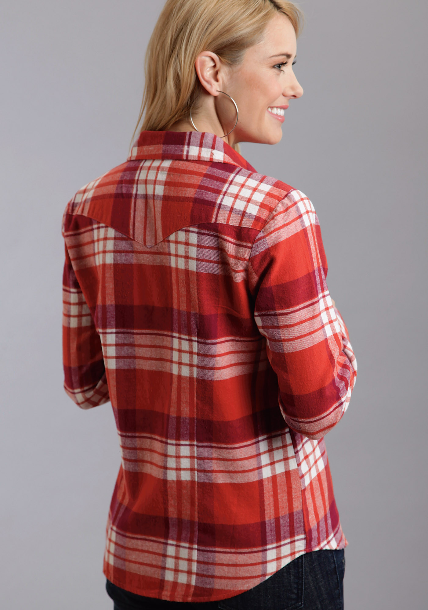 Stetson Ladies Orange Plaid Long Sleeve Western Blouse