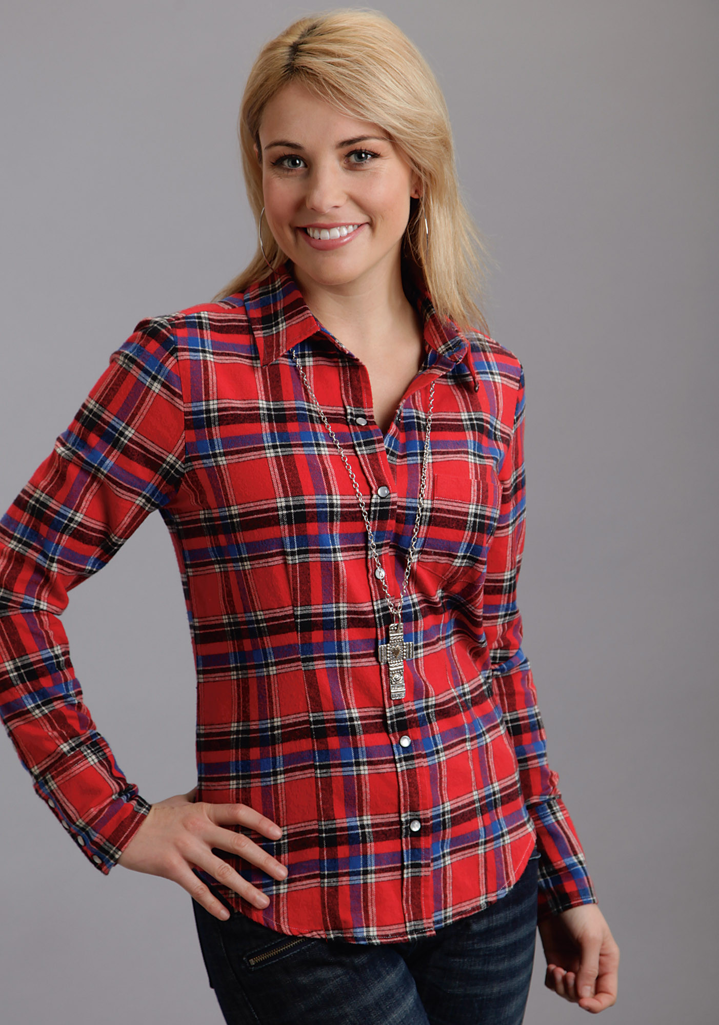 Stetson ladies red and black plaid long sleeve western blouse Womens red plaid shirts blouses