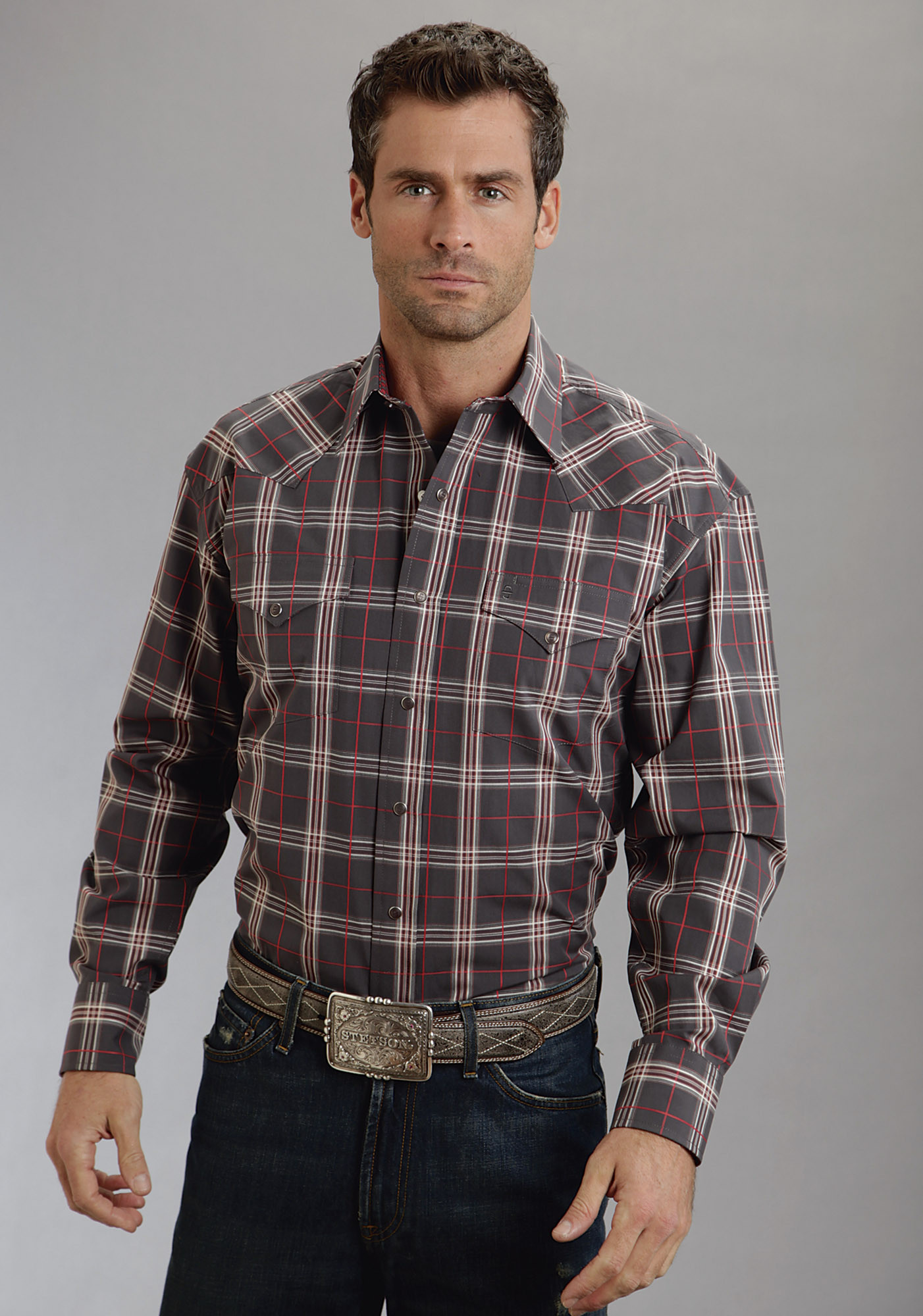 Stetson® Mens Black, Red & White Plaid Long Sleeve Snap Front ...