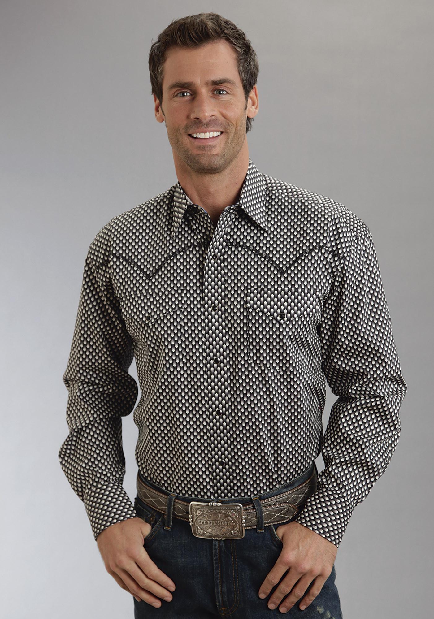 Stetson mens big tall black shadow boxes poplin long for Mens tall western shirts