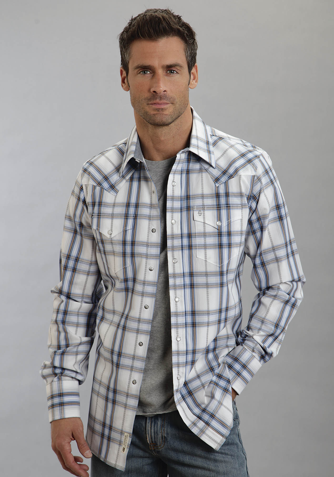 Stetson mens blue white plaid long sleeve snap front for Red and white plaid shirt mens