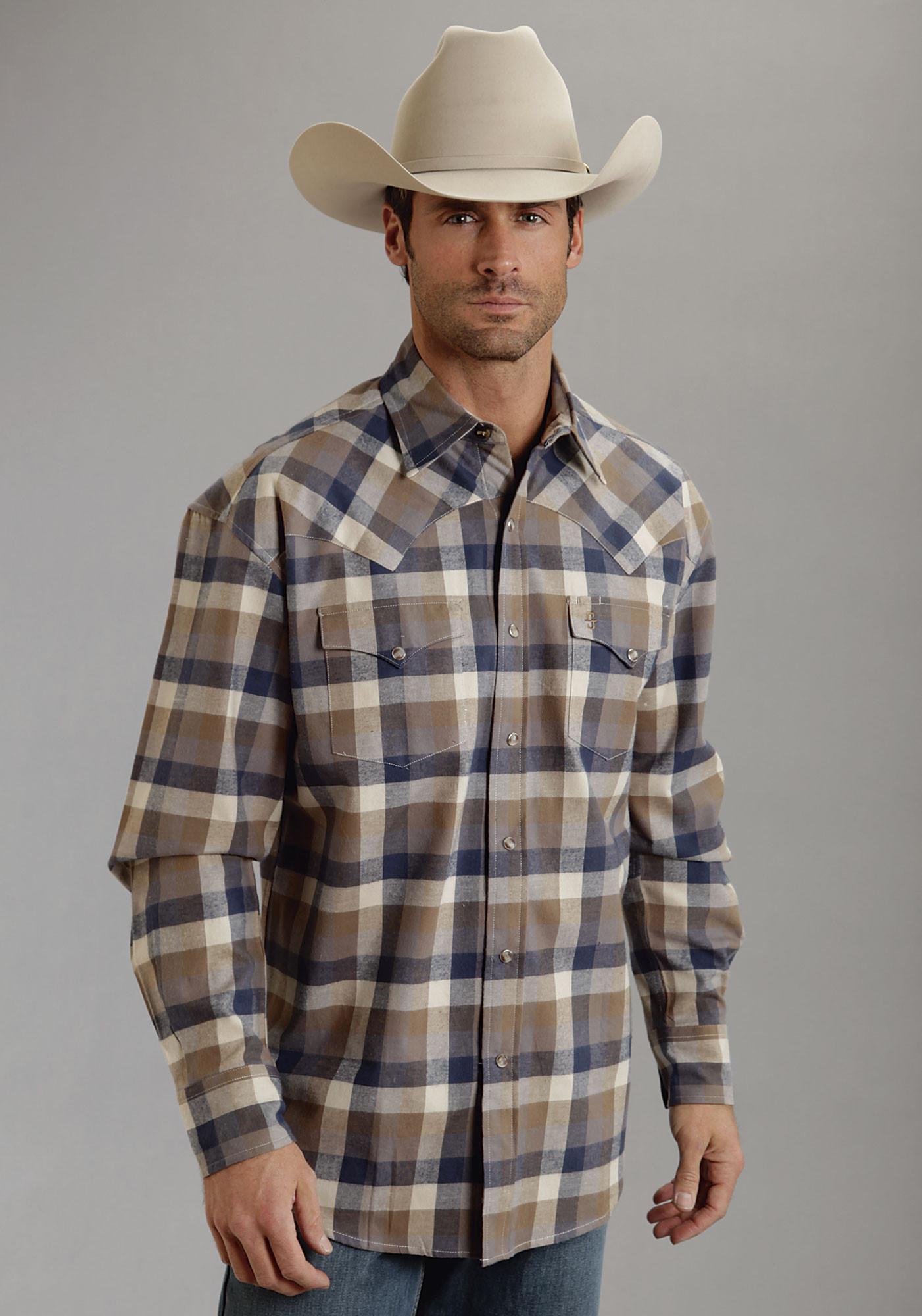 Stetson 174 Men S Brown Plaid Long Sleeve Snap Cowboy Shirt