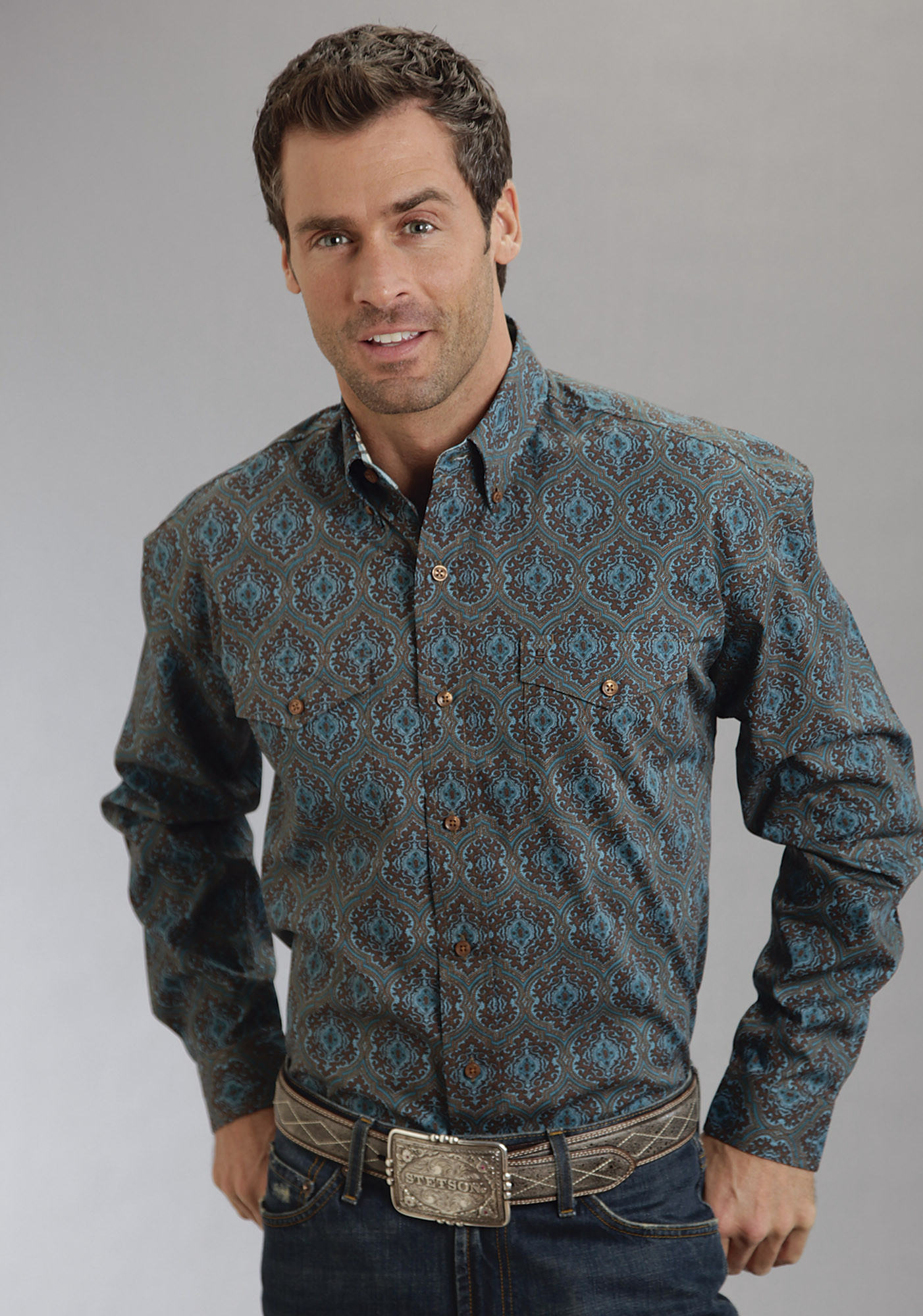 Stetson Mens Brown Persian Paisley Long Sleeve Button