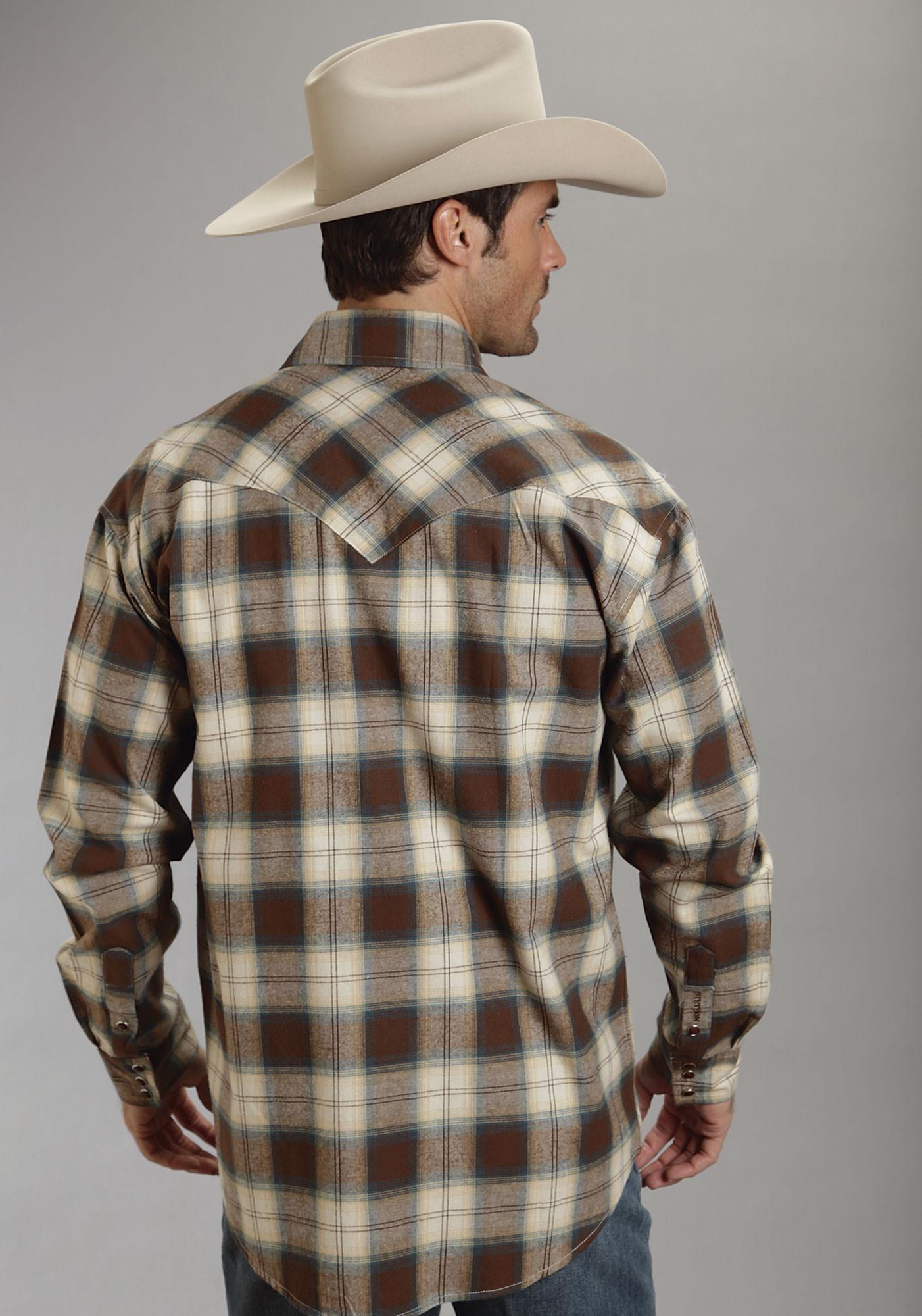 Stetson 174 Mens Brown Plaid Flannel Ls Western Shirt