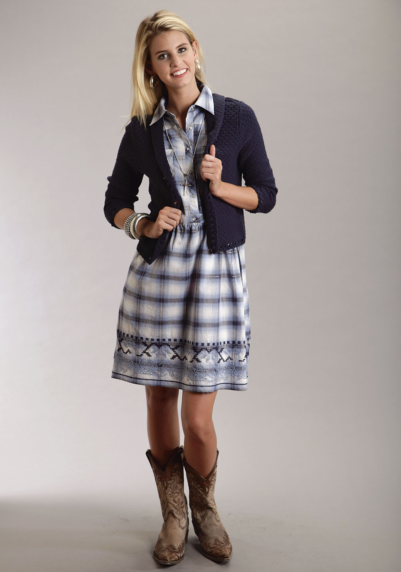 Stetson® Women's Blue Plaid Embroidered Sleeveless Western Dress
