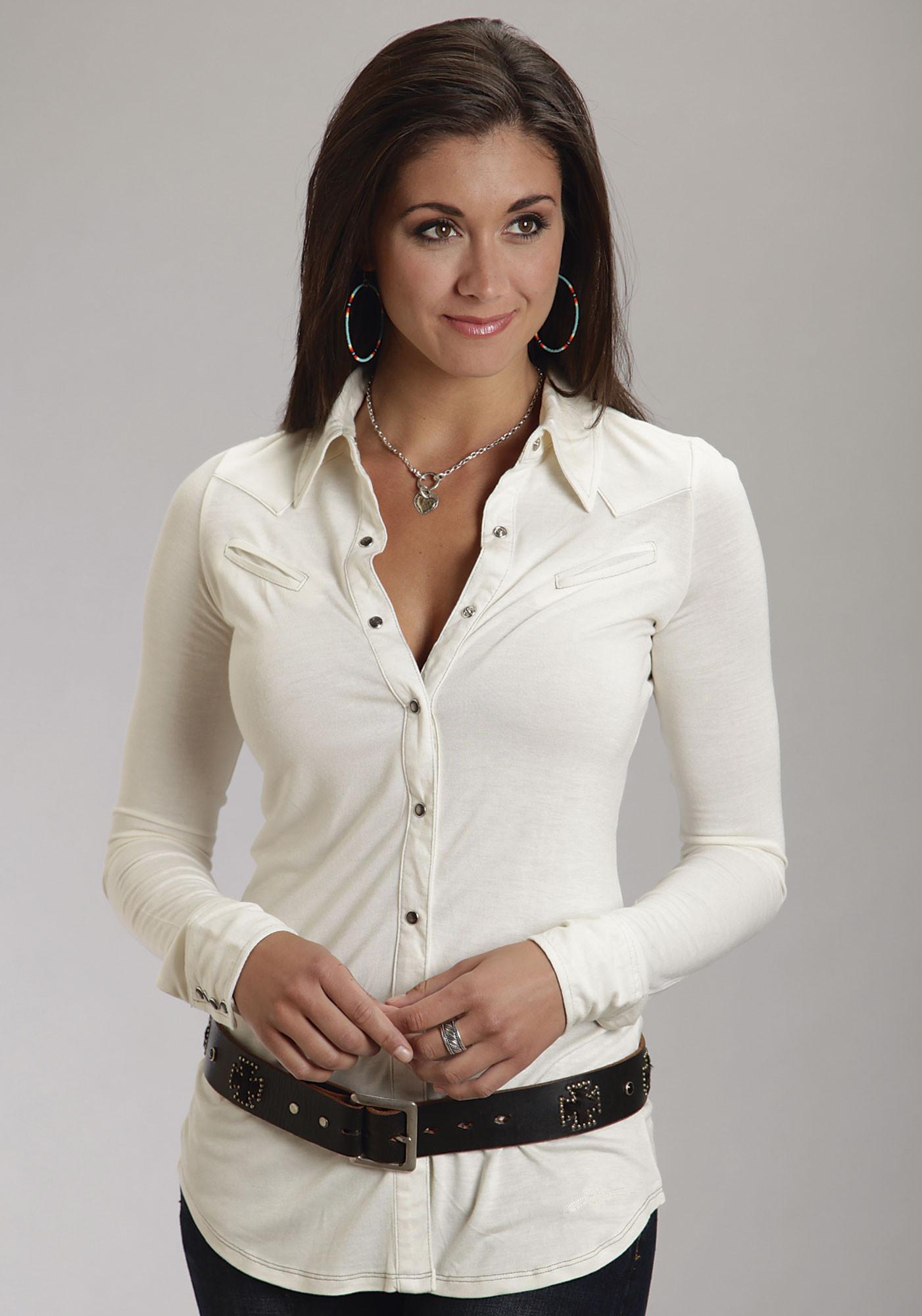 Stetson® Cream Grey Pearl Snap Smile Pocket LS Knit Western Shirt