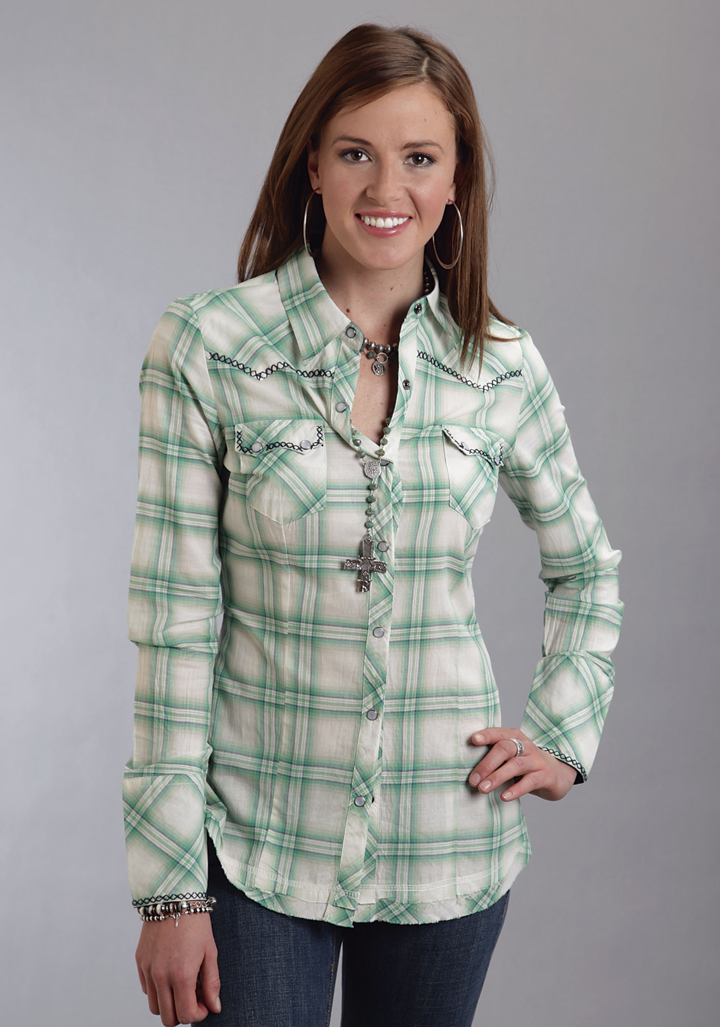 Stetson® Women's Green Plaid Long Sleeve Snap Western Shirt