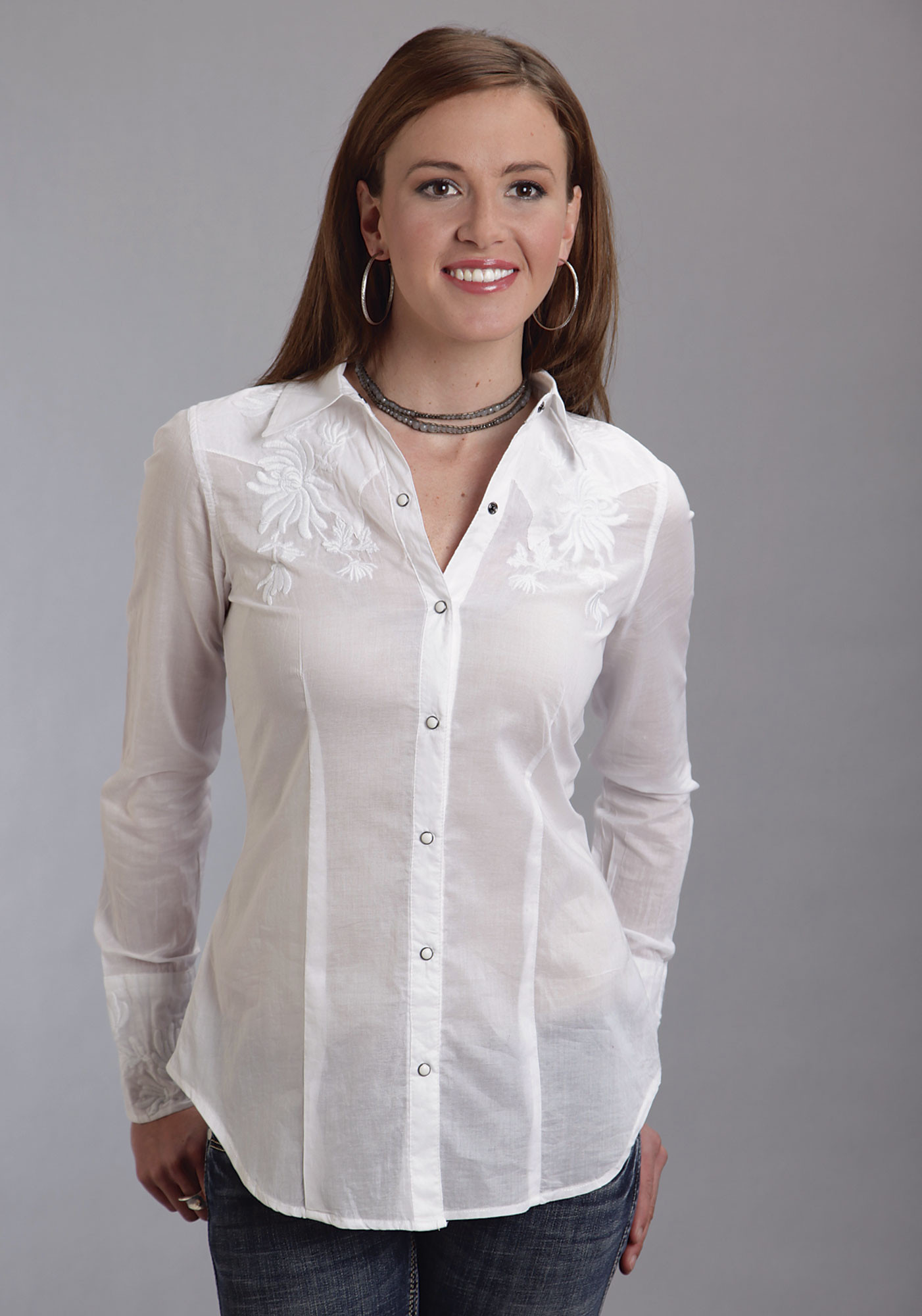 Stetson® Women's White Cotton Embroidered Long Sleeve Western Shirt