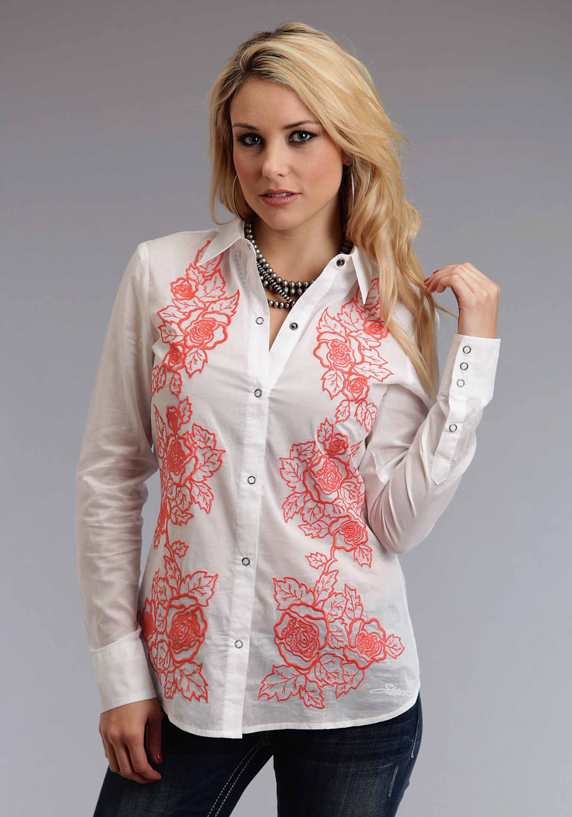 Stetson Womens Embroidered Western Shirt - Coral Bloom