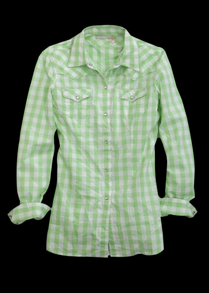 Tin Haul® Green White Check Plaid Cotton LS Cowgirl Shirt