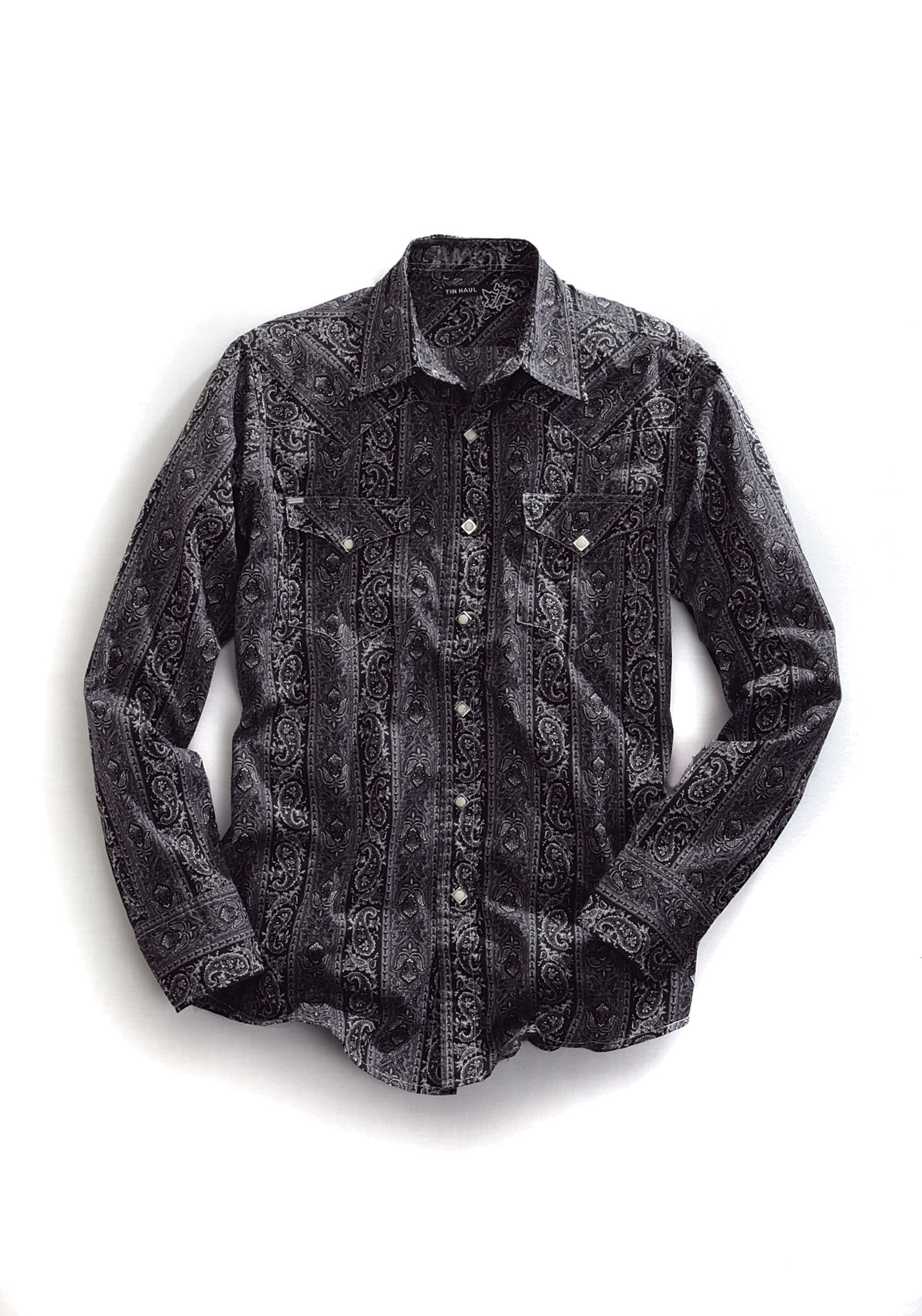 Tin Haul Mens Black Paisley Cotton Ls Snap Cowboy Shirt