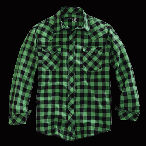 Tin haul mens green and black plaid long sleeve snap for Green and black plaid flannel shirt