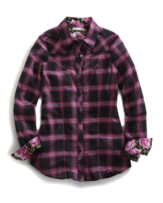 Tin Haul® Women's Black & Pink Plaid Long Sleeve Snap Cowgirl Shirt