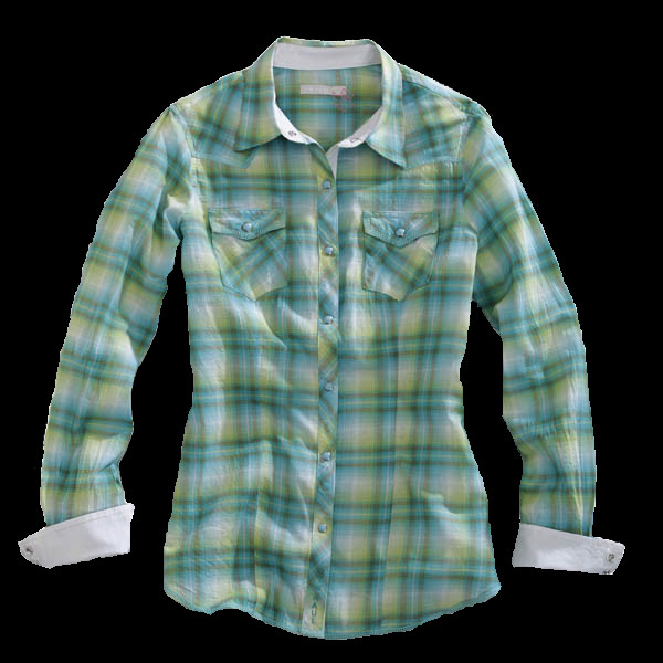 Tin Haul® Women's Green Plaid Snap Long Sleeve Snap Western Shirt