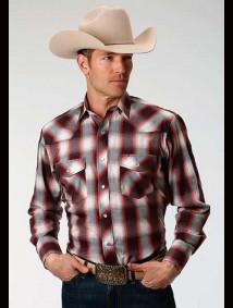 Cowboy Plaid Shirt ~ WINE & CORAL PLAID