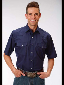 Short-Sleeve Western Shirt ~ Solid Navy