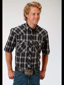 Short-Sleeve Western Shirt ~ Black & White