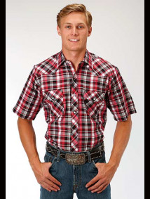 Short-Sleeve Western Shirt ~ Black, Red & White