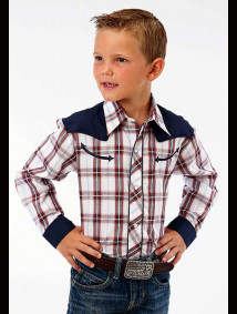 Boys Western Shirt - Retro Red, White & Navy Plaid